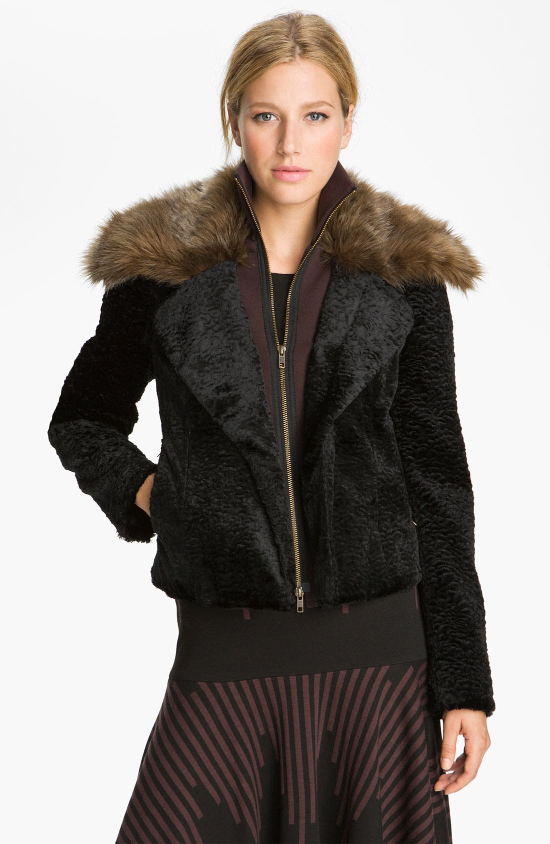 Main Image - Tracy Reese Ponte Trim Faux Astrakhan Jacket