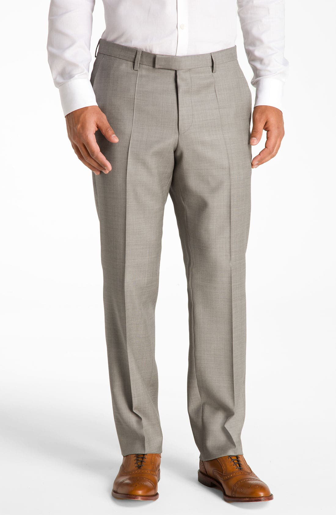 BOSS Black 'James/Sharp' Trim Fit Wool Suit,                             Alternate thumbnail 4, color,                             Medium Beige