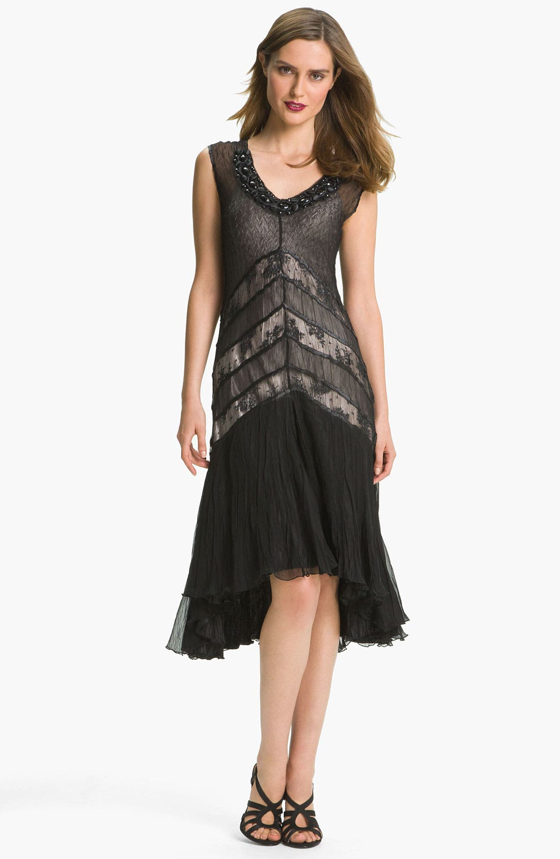 Alternate Image 1 Selected - Black by Komarov Lace Panel High/Low Chiffon Dress