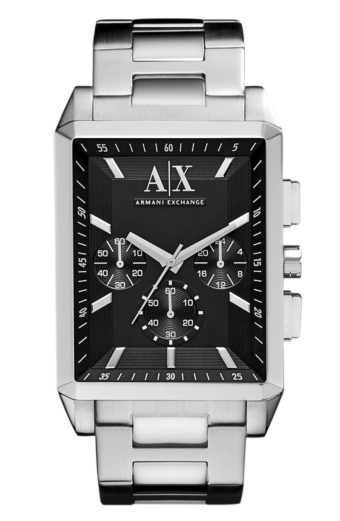 Main Image - AX Armani Exchange Rectangular Chronograph Bracelet Watch