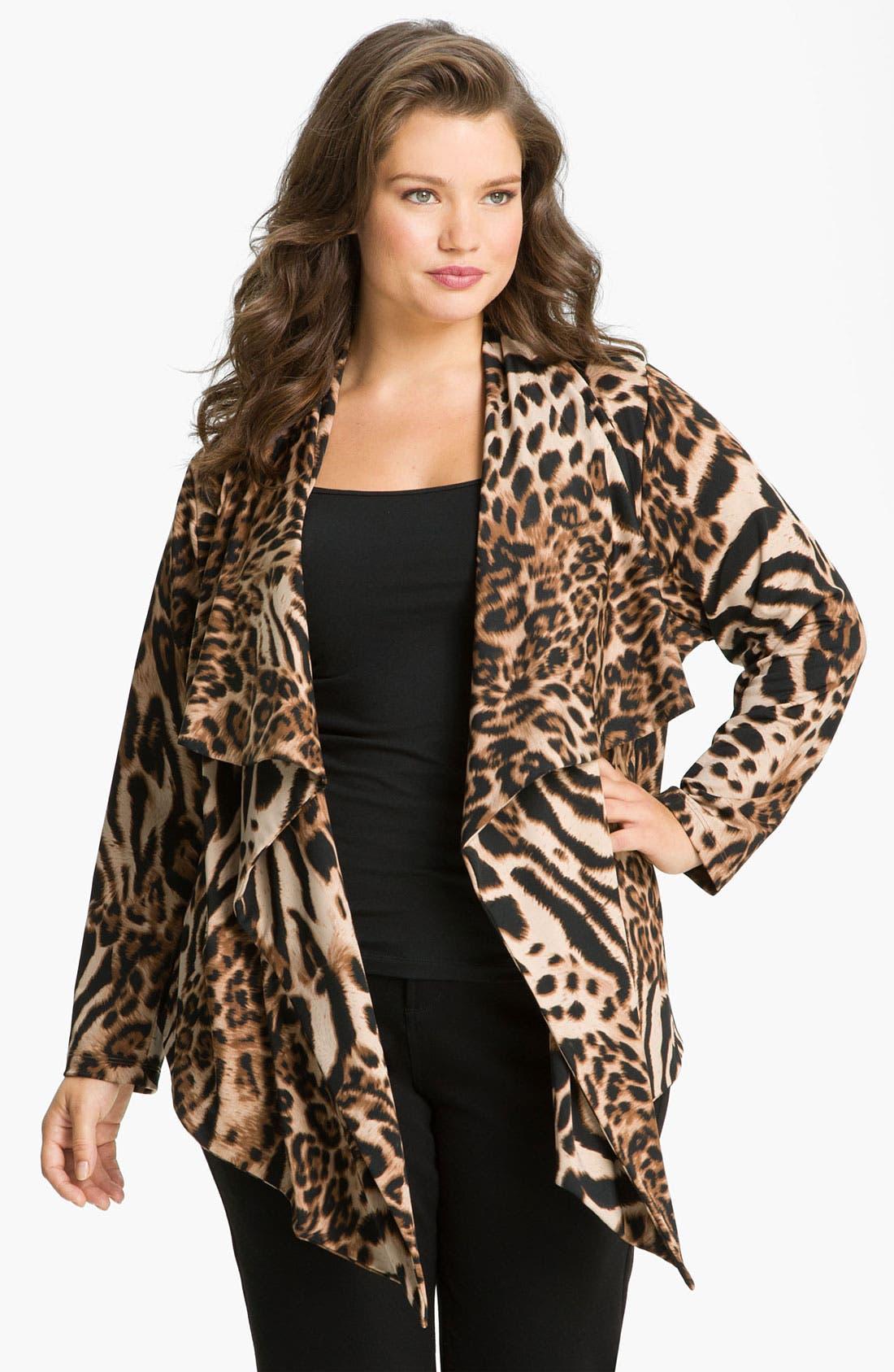 Main Image - Karen Kane 'Cheetah' Drape Jacket (Plus)