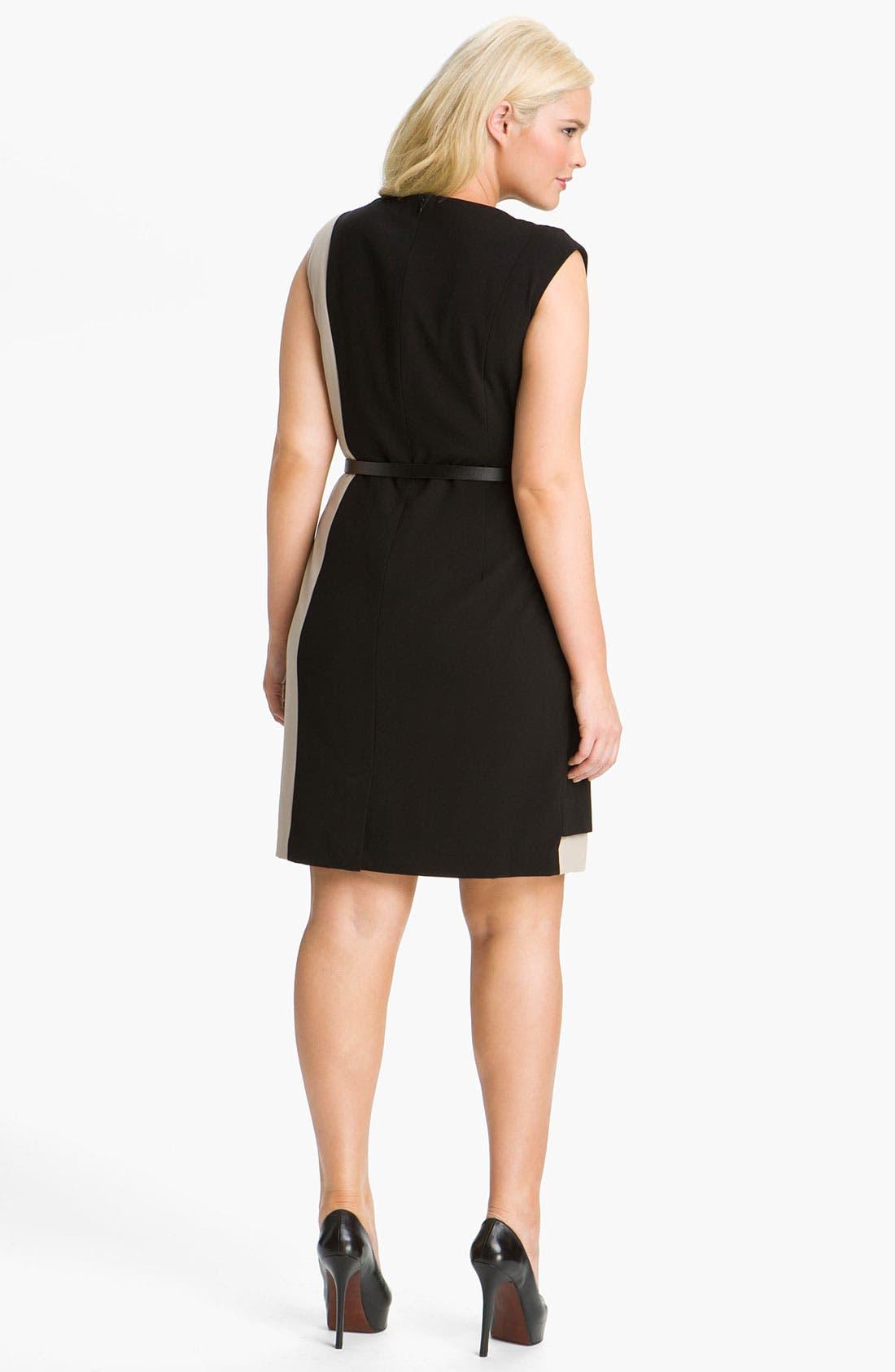 Alternate Image 2  - Calvin Klein Colorblock Belted Sheath Dress (Plus Size)