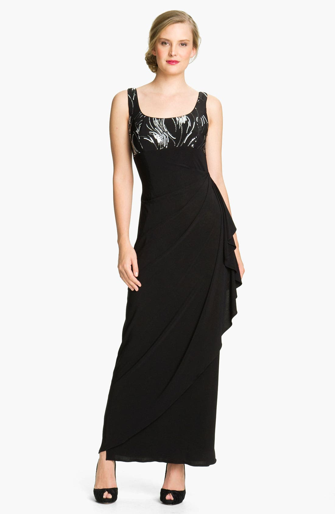 Alternate Image 2  - Alex Evenings Side Drape Jersey Gown & Sequin Jacket