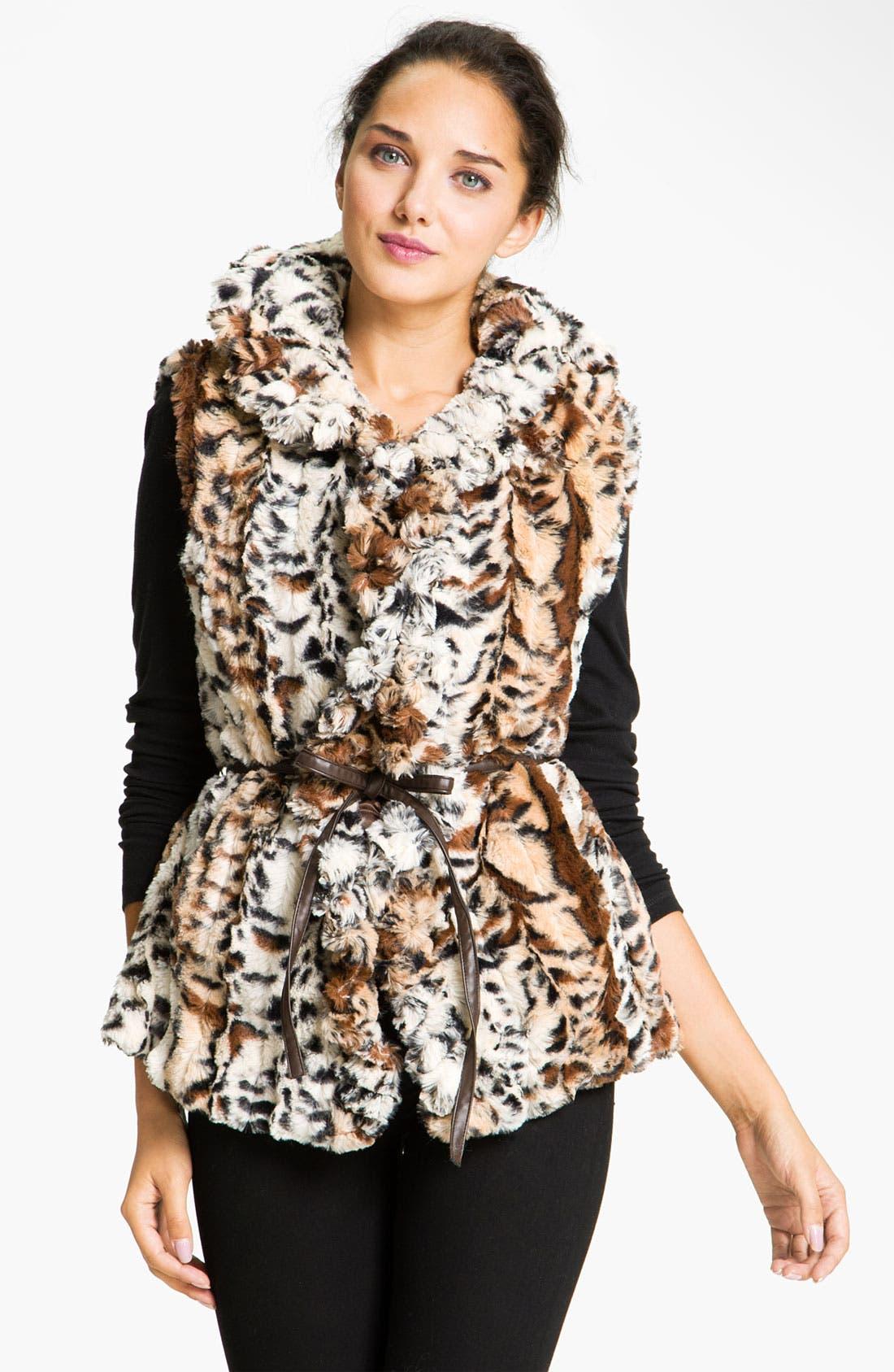 Main Image - Damselle Faux Fur Ruffle Vest (Online Exclusive)
