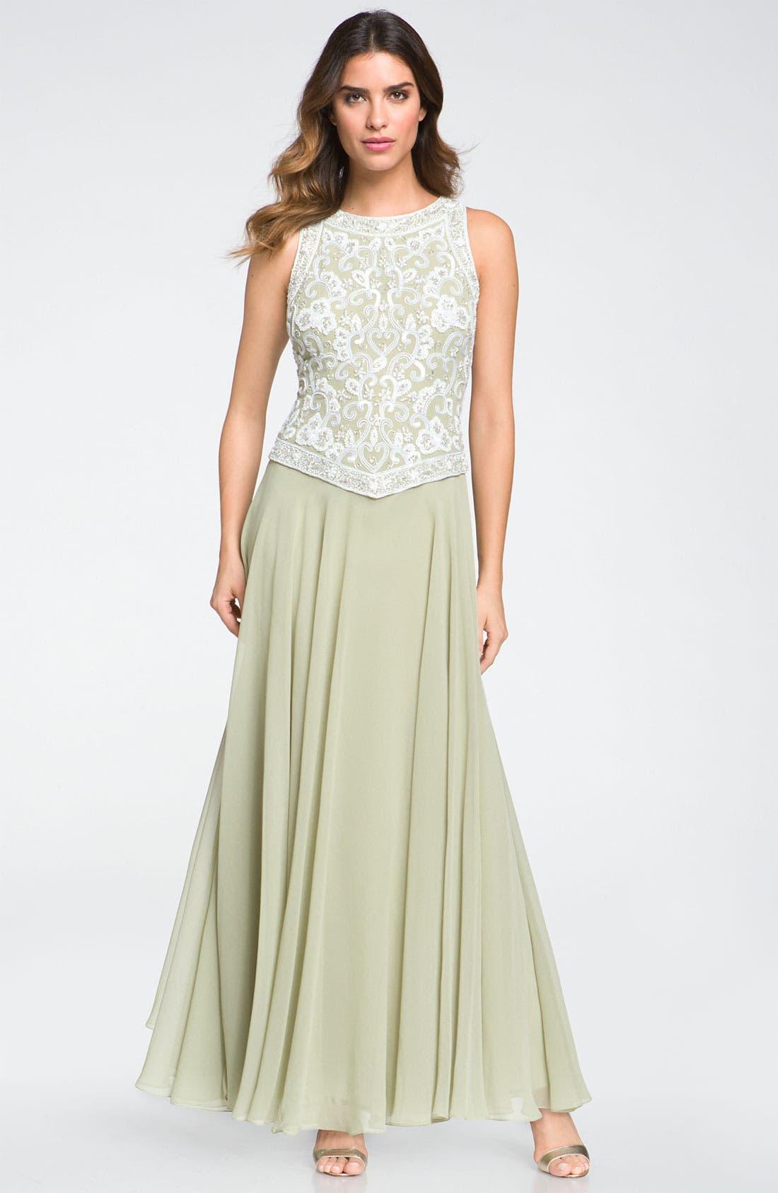 Main Image - J Kara Embellished Sleeveless Crepe Gown (Petite)