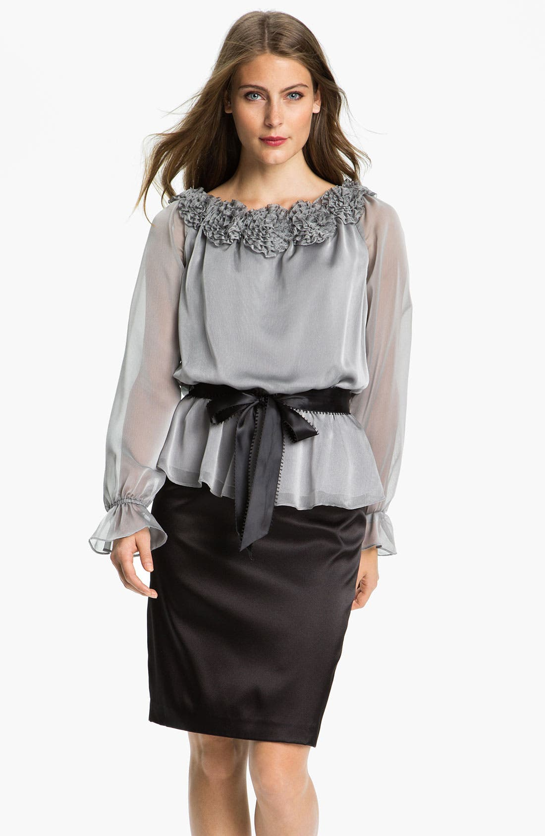 Main Image - Adrianna Papell Stretch Charmeuse Pencil Skirt