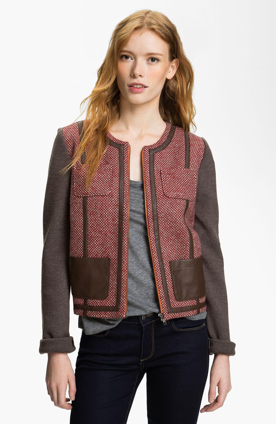 Main Image - Hinge® Knit Sleeve Tweed Jacket