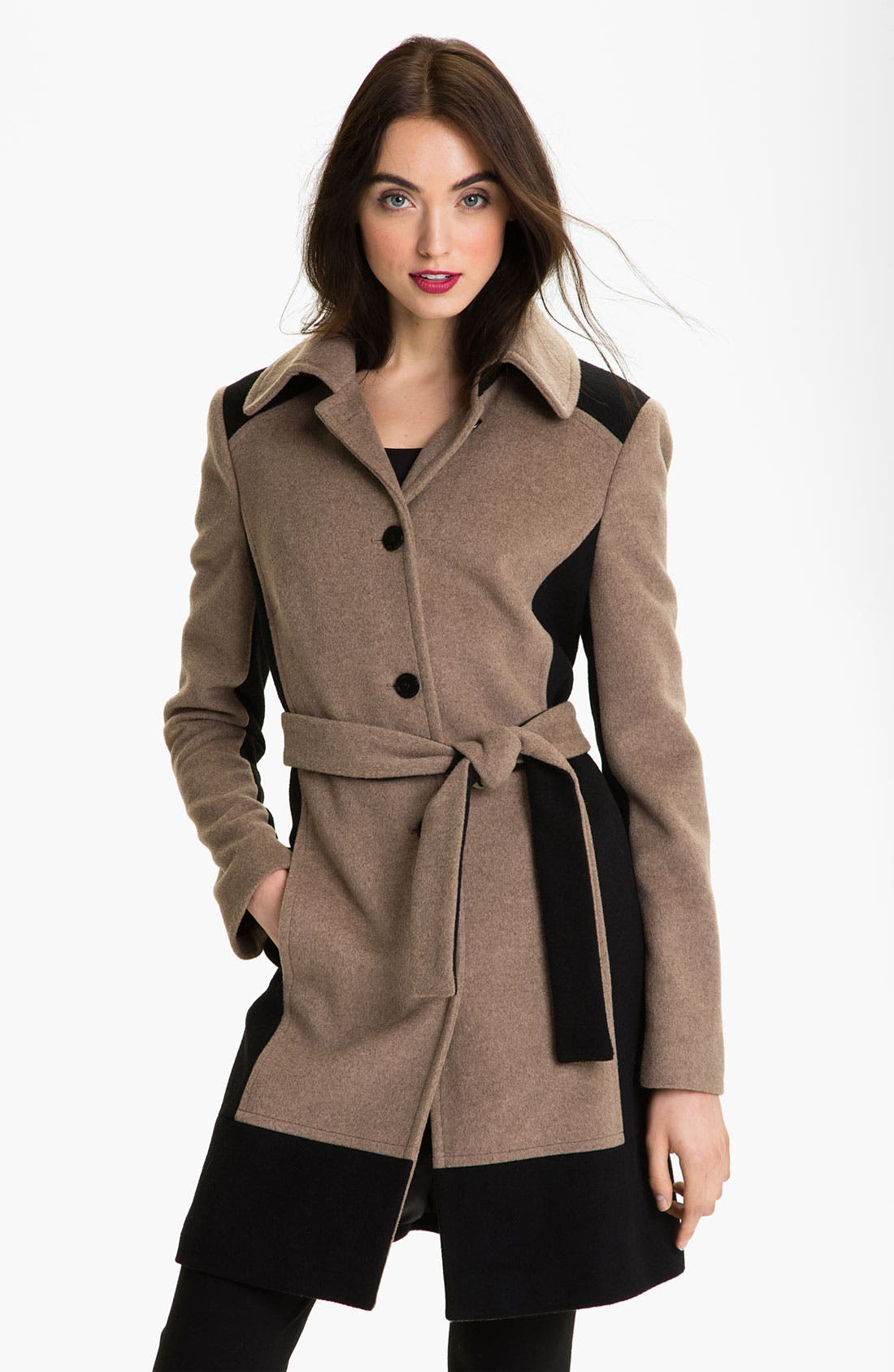 Alternate Image 1 Selected - Calvin Klein Colorblock Belted Coat