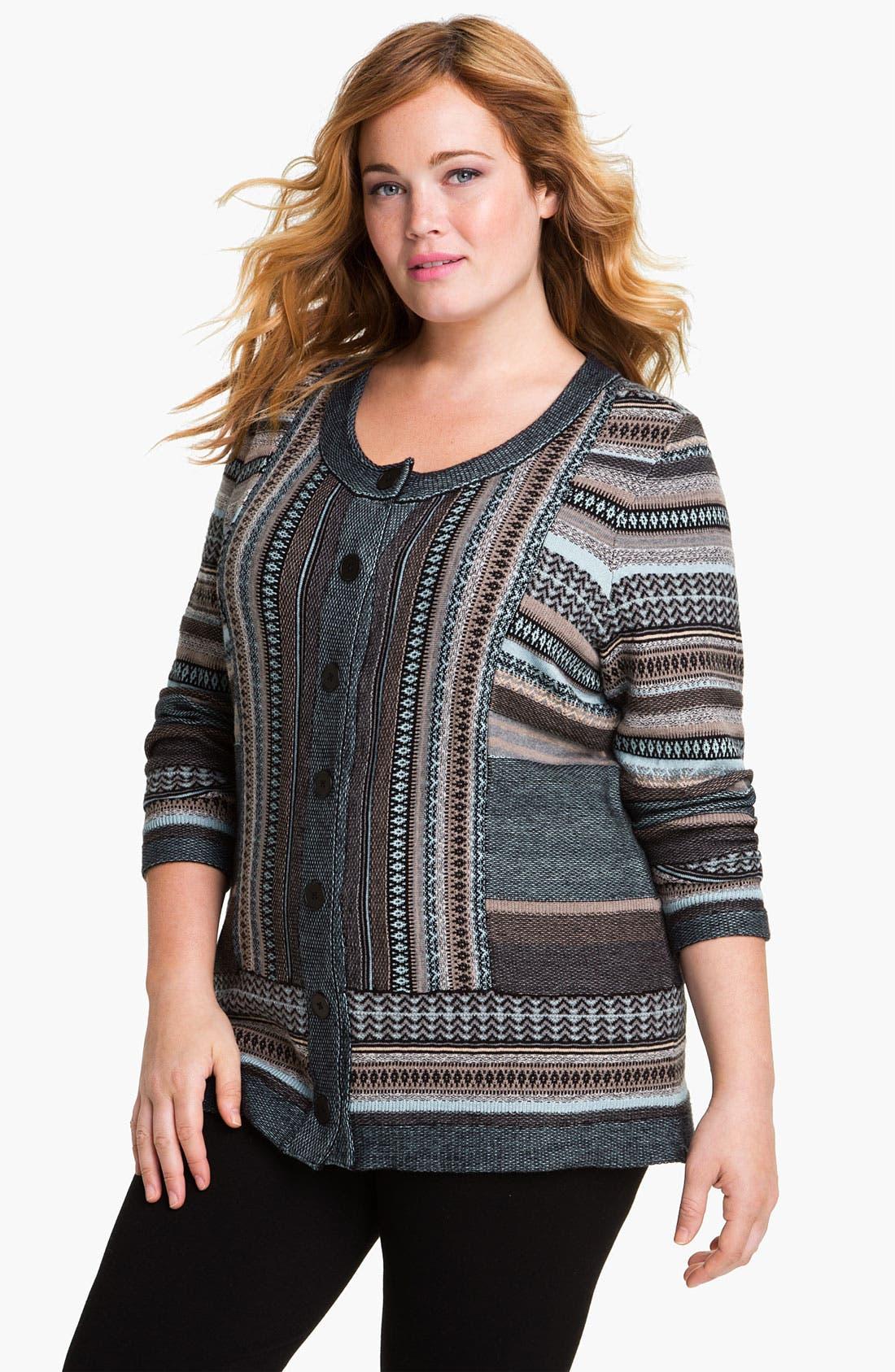 Alternate Image 1 Selected - Nic + Zoe Stripe Knit Cardigan (Plus)