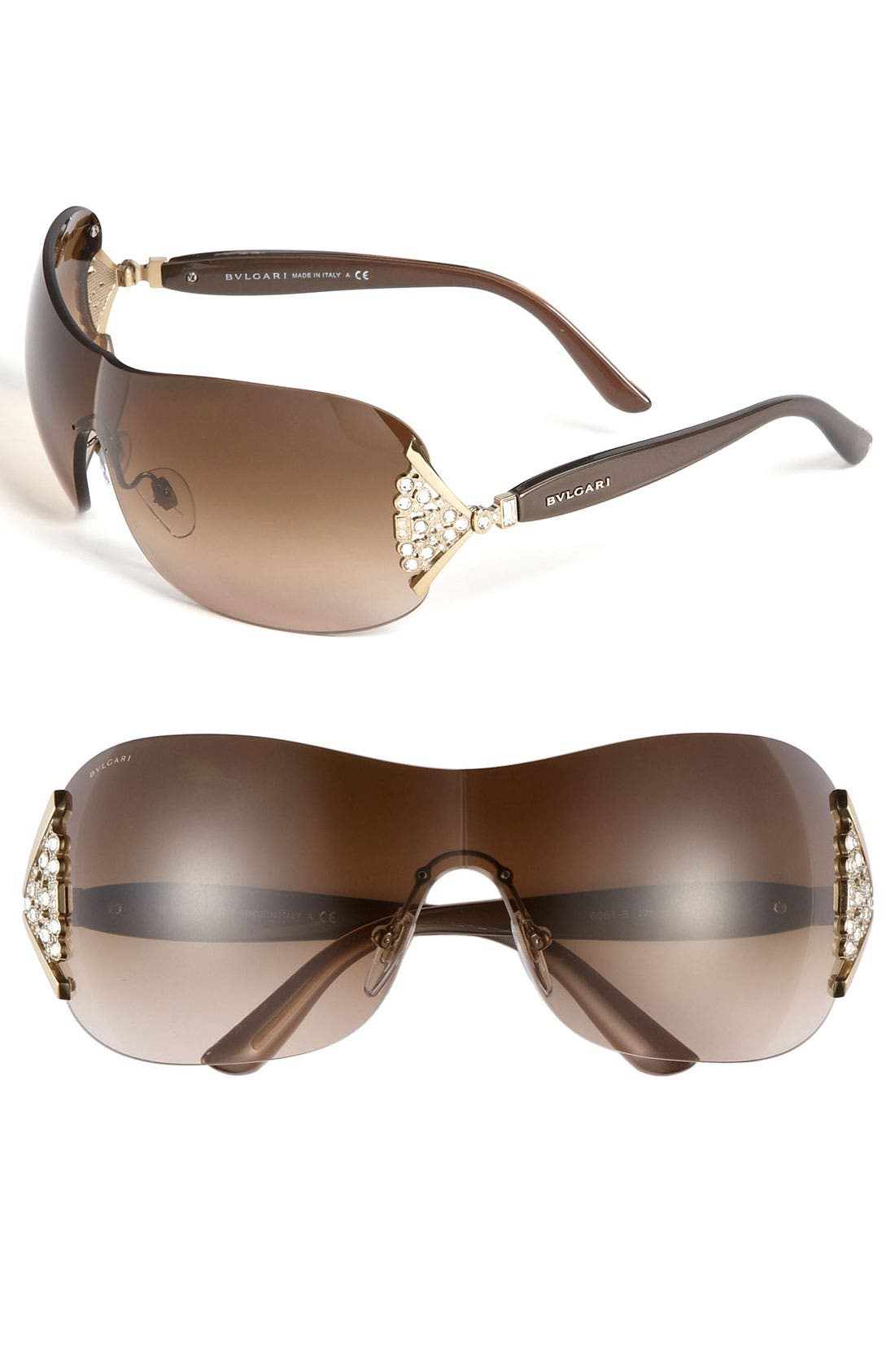 Main Image - BVLGARI 63mm Swarovski Crystal Rimless Shield Sunglasses