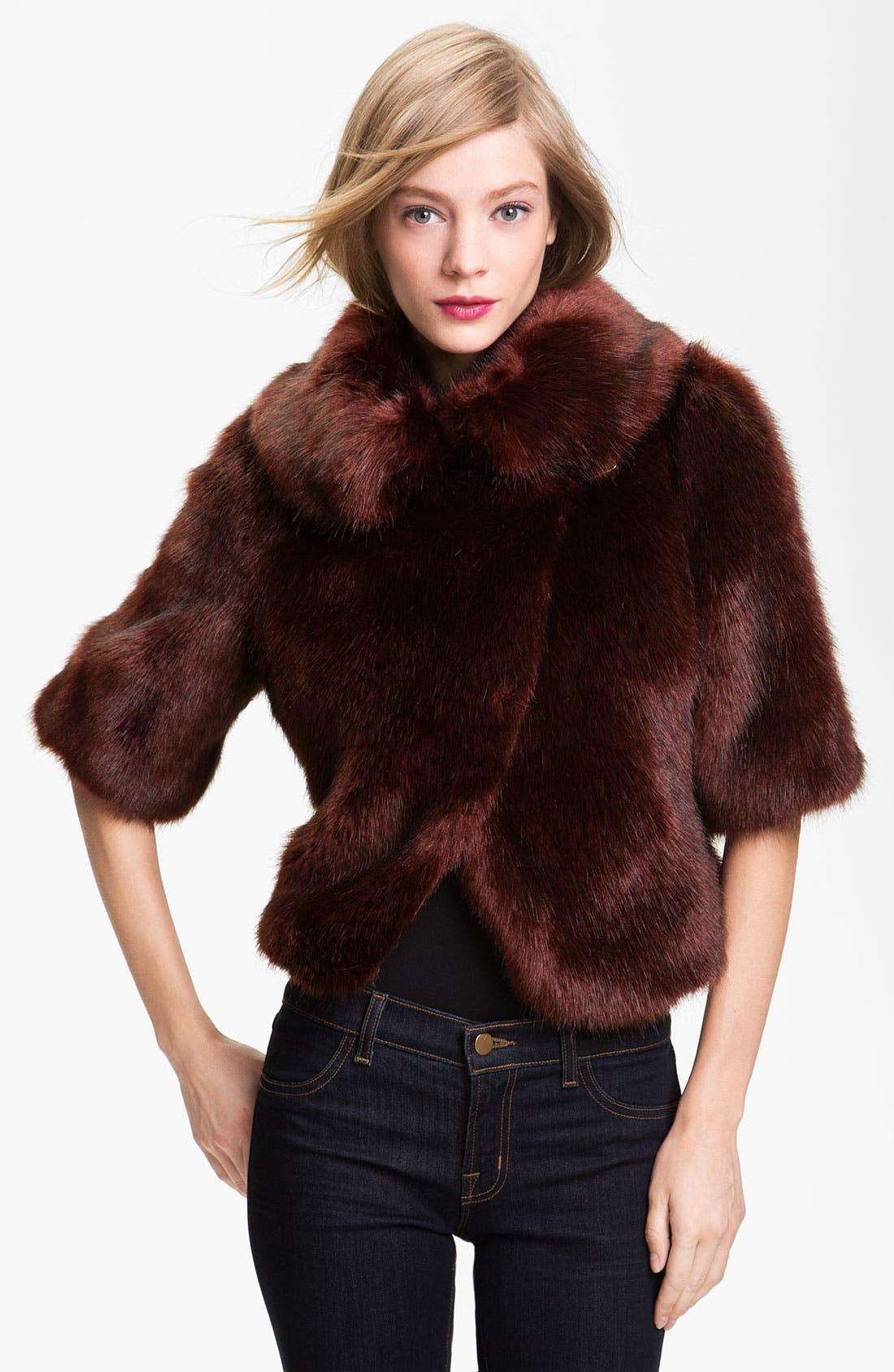 Main Image - Ted Baker London Crop Faux Fur Jacket