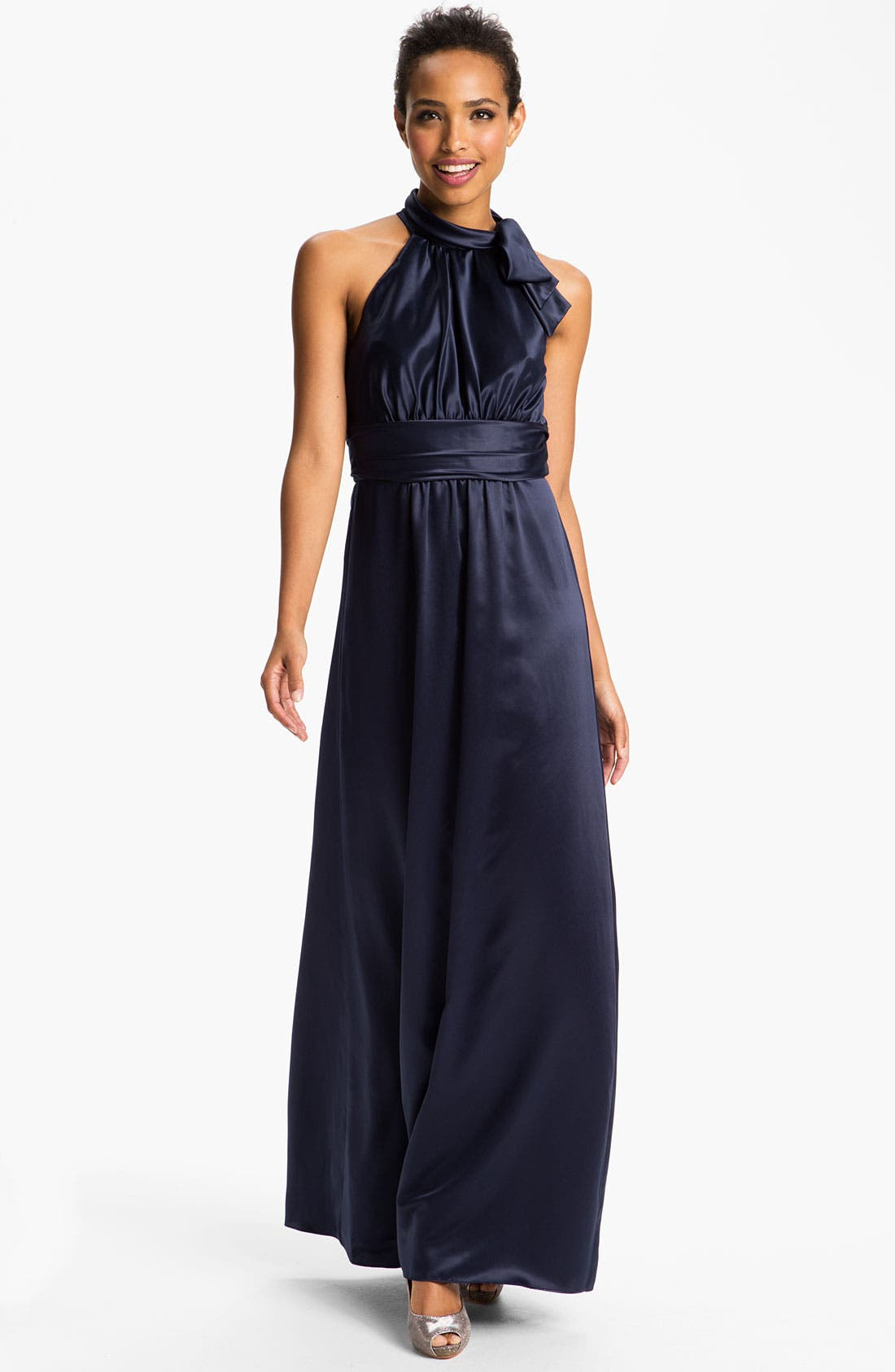 Alternate Image 1 Selected - Amsale Tie Neck Satin A-Line Gown