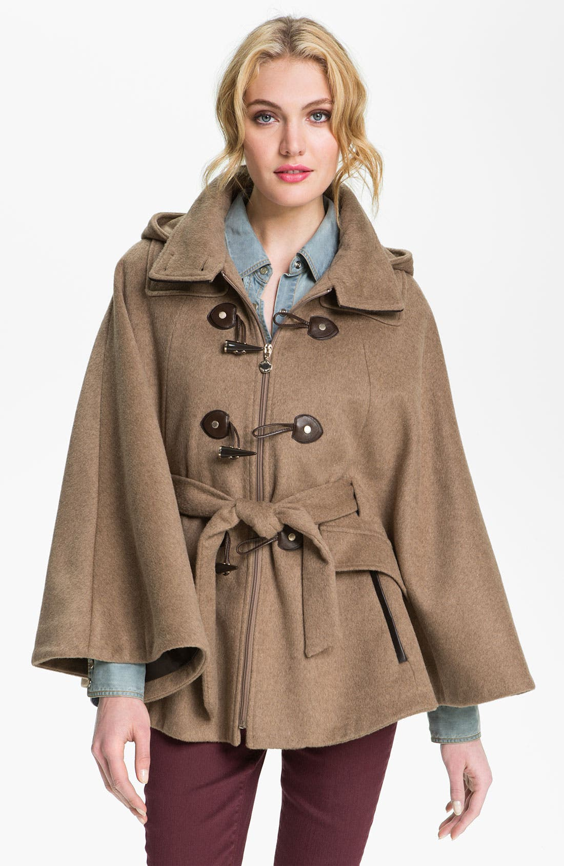 Alternate Image 1 Selected - Calvin Klein Hooded Toggle Cape