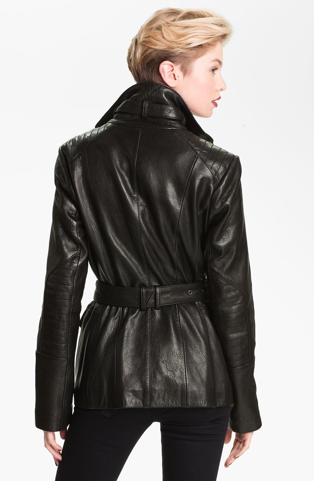 Alternate Image 2  - Andrew Marc Belted Leather Jacket