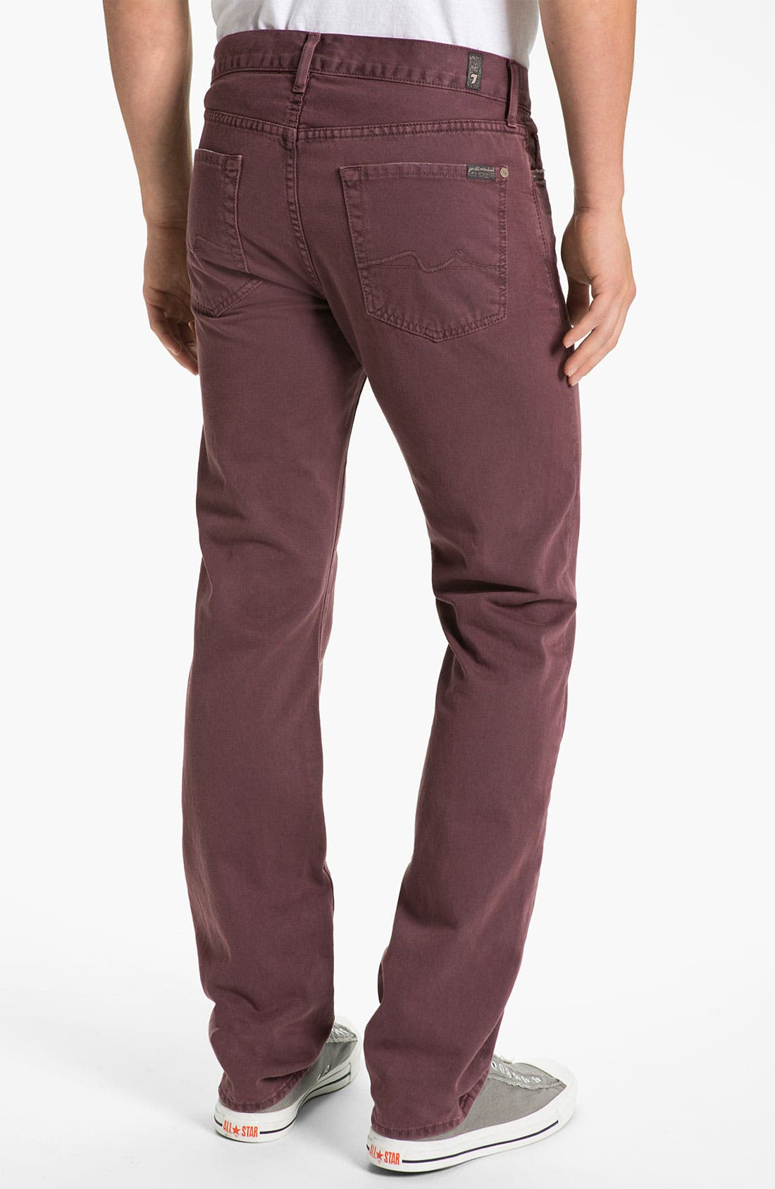 Alternate Image 1 Selected - 7 For All Mankind® 'Slimmy' Slim Straight Leg Jeans (Dark Merlot)