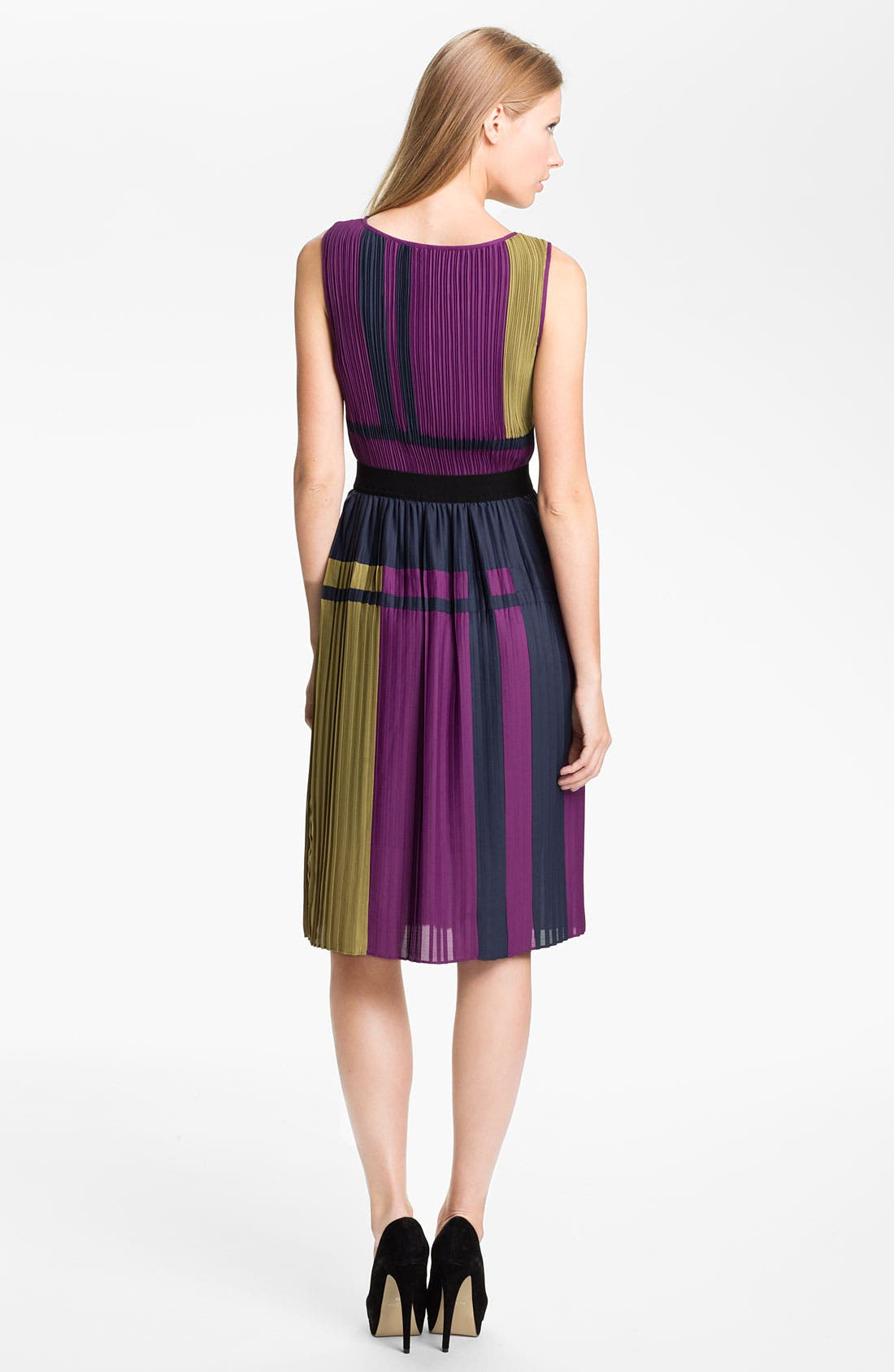 Alternate Image 2  - BCBGMAXAZRIA Pleated Colorblock Chiffon Dress