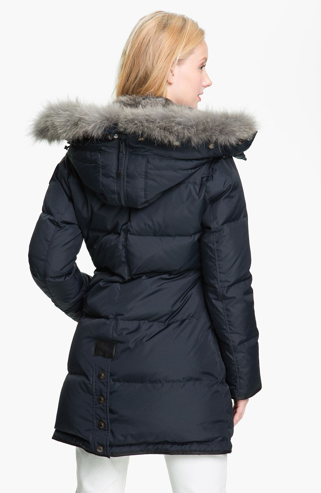 'Cougar' Down Parka with Genuine Coyote & Rabbit Fur,                             Alternate thumbnail 2, color,                             Navy