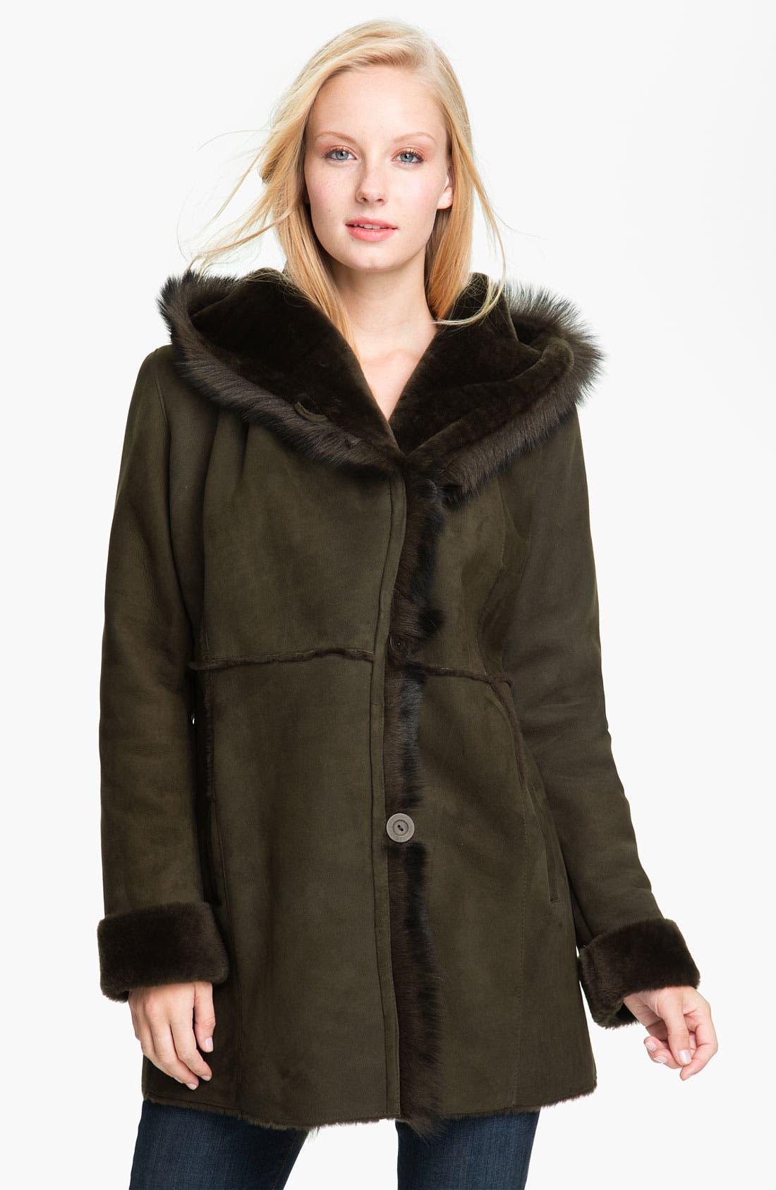 Alternate Image 1 Selected - Blue Duck Genuine Shearling Hooded Jacket