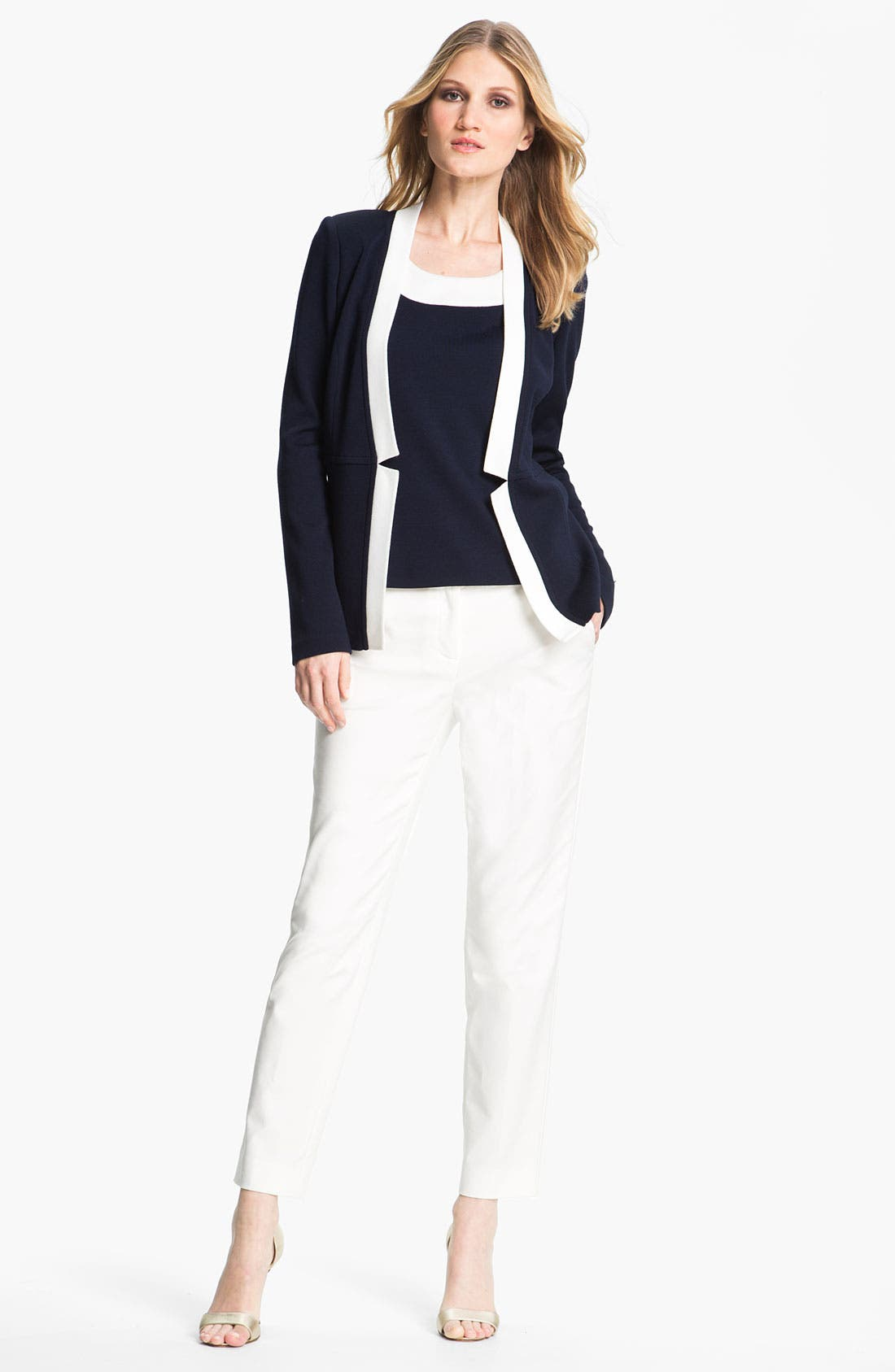 Main Image - St. John Collection Double Weave Stretch Cotton Pants
