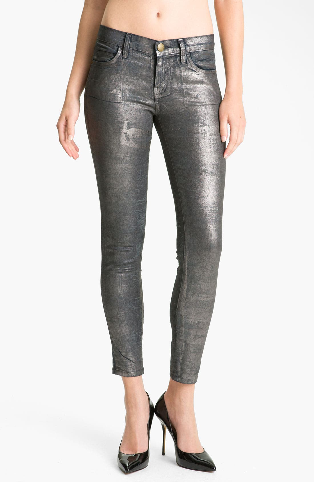 Alternate Image 1 Selected - Current/Elliott Metallic Skinny Jeans (Silver Coated Foil)