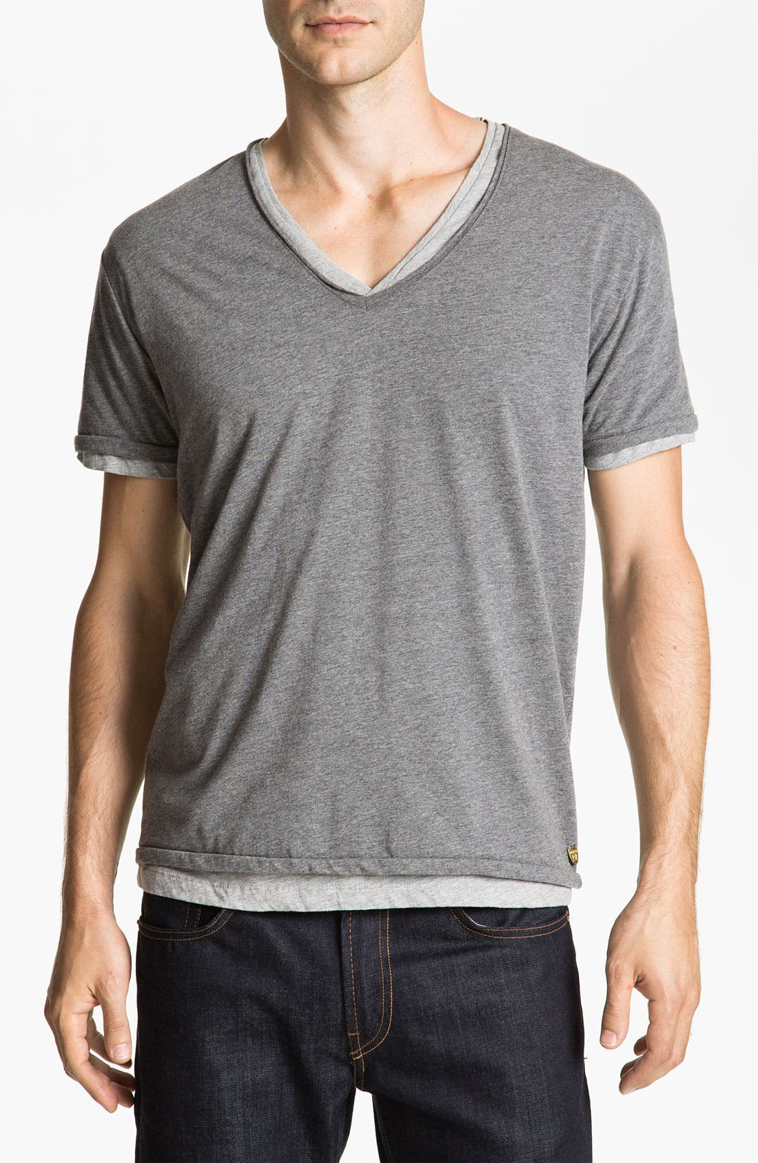 Alternate Image 1 Selected - Scotch & Soda Double Layer V-Neck T-Shirt