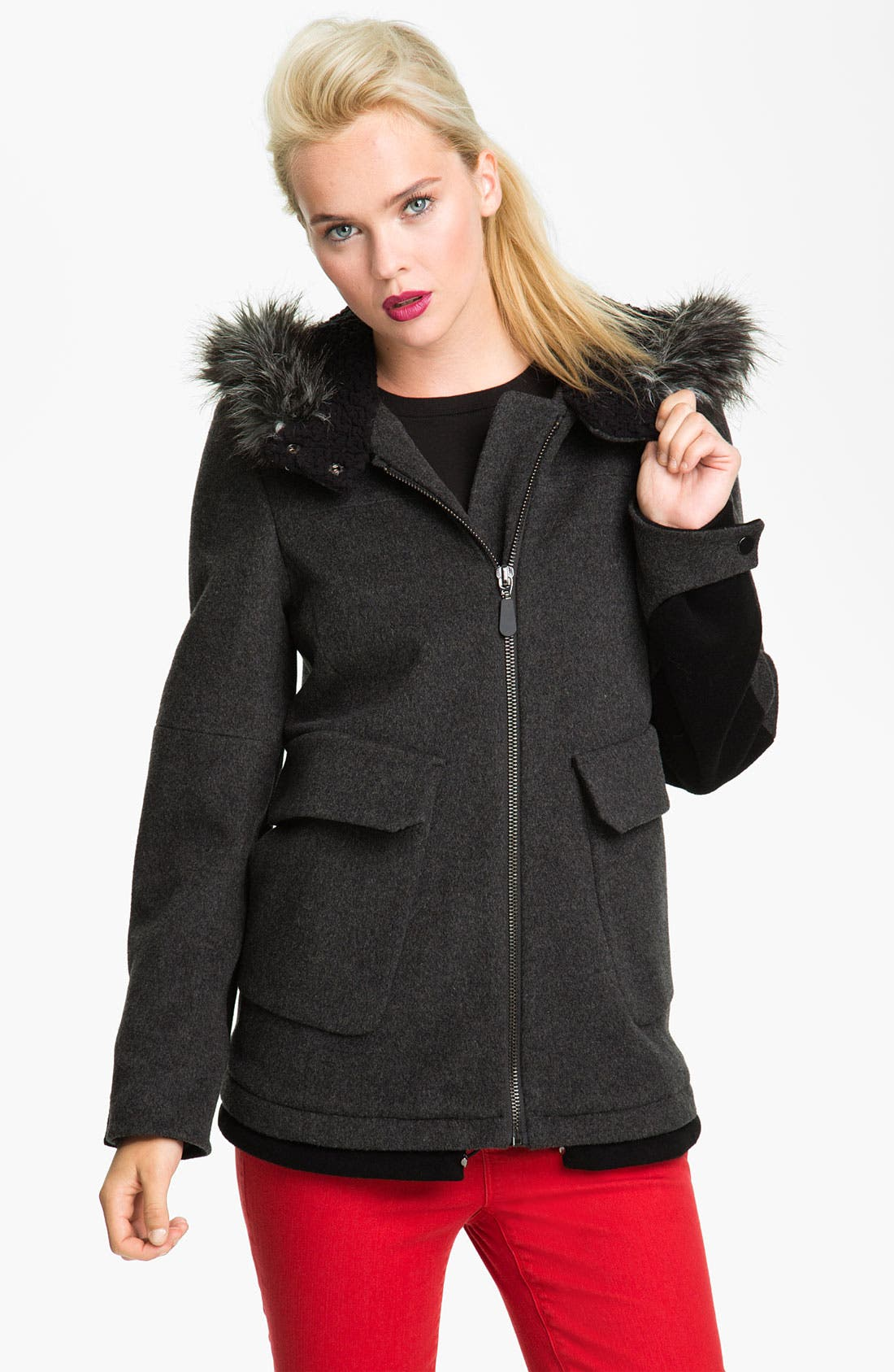 Main Image - Kristen Blake Wool Blend Jacket with Faux Fur Trim