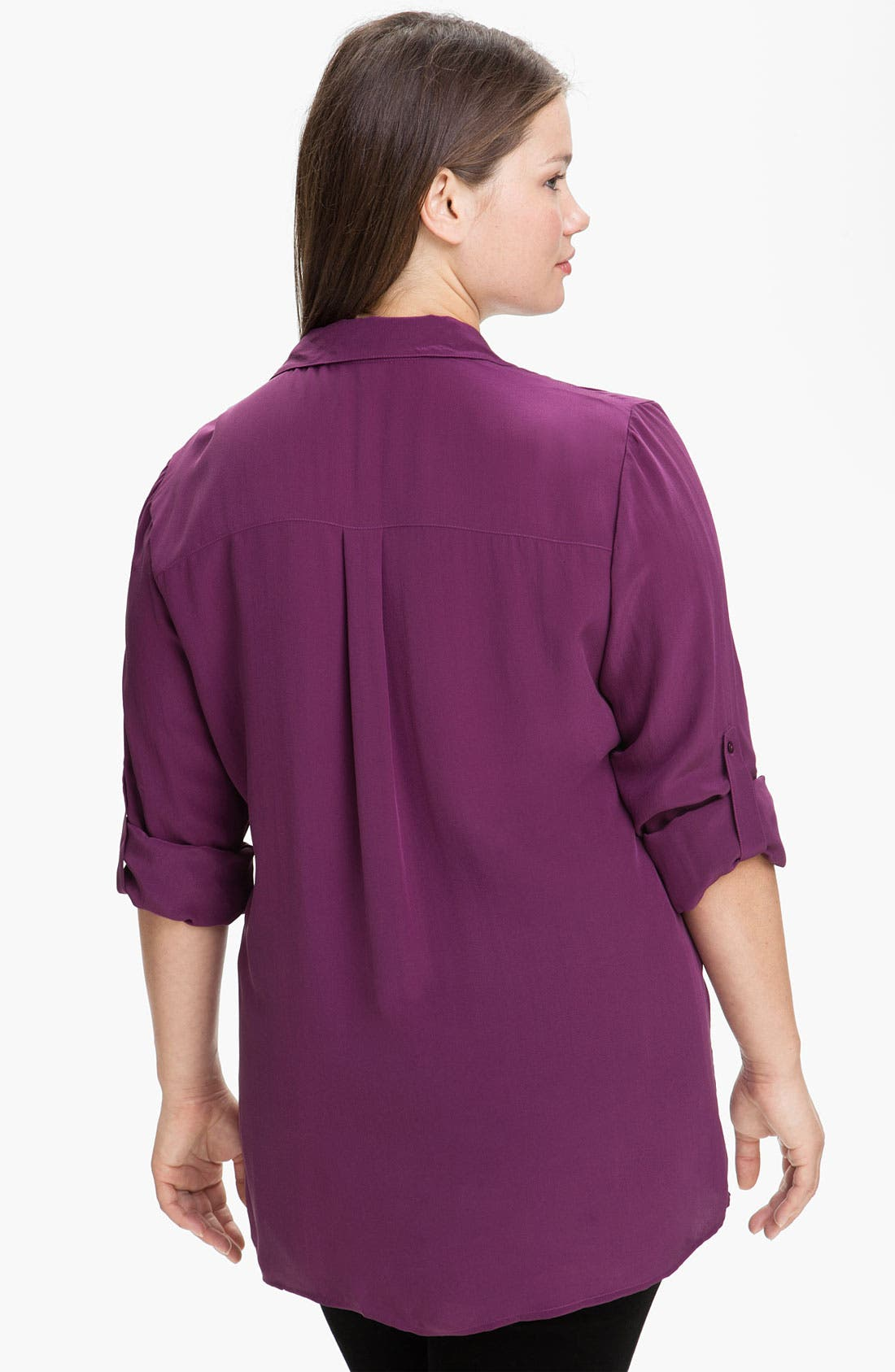 Alternate Image 2  - Eileen Fisher Roll Sleeve Silk Blouse (Plus)