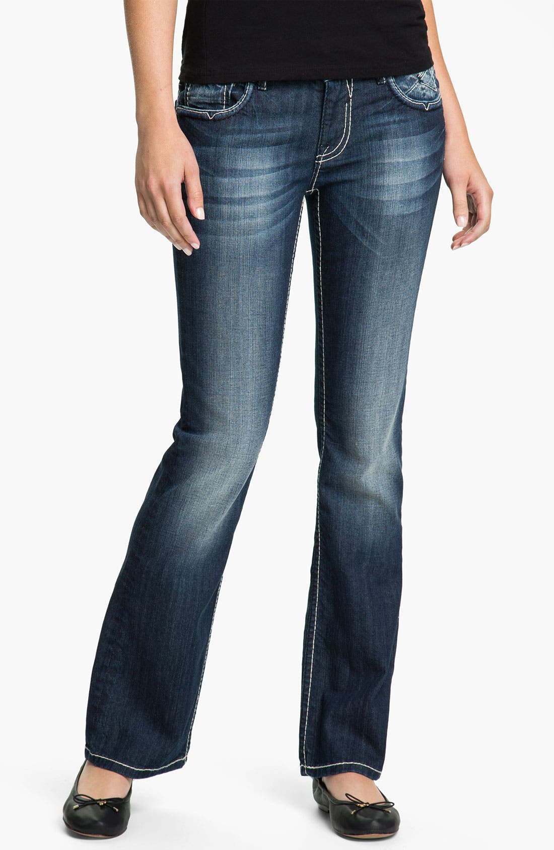 Alternate Image 2  - Vigoss Embroidered Pocket Bootcut Jeans (Juniors)