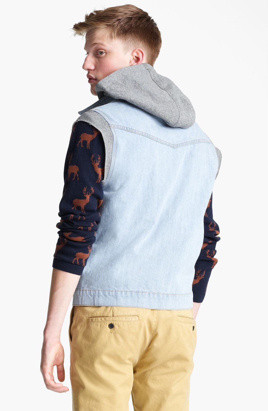 Alternate Image 2  - Topman 'Spade' Hooded Denim Vest