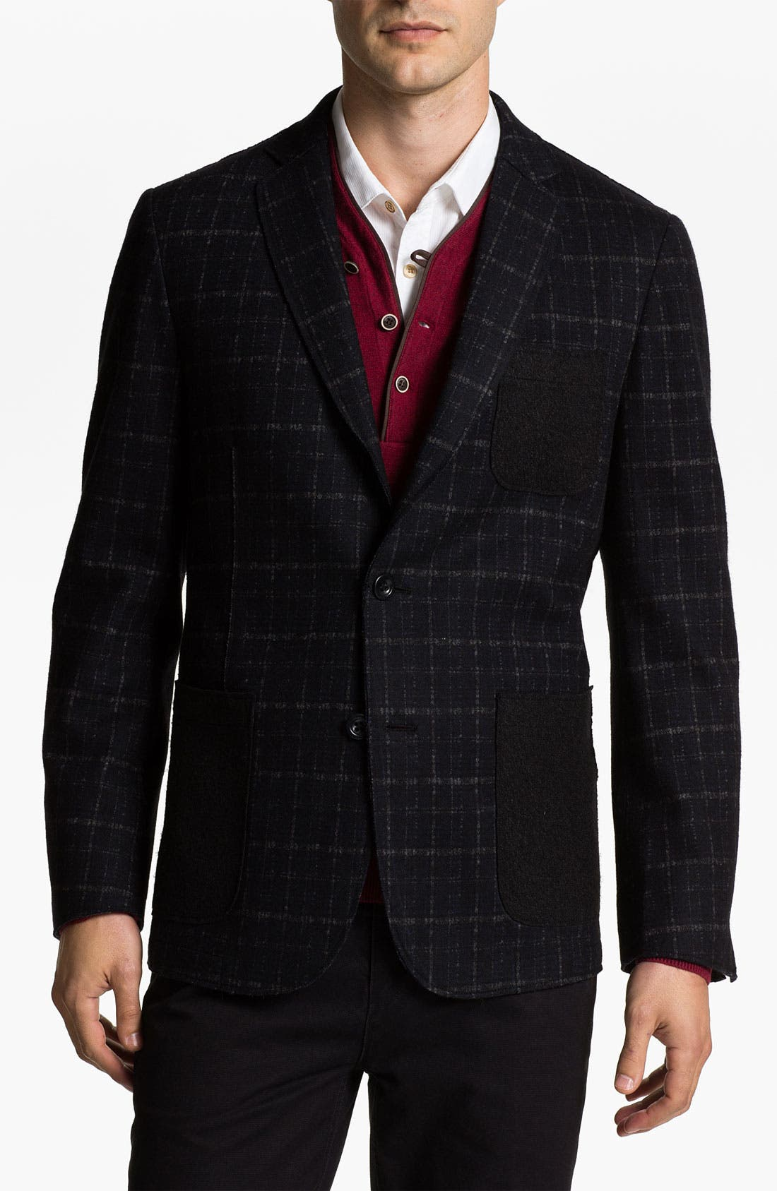 Main Image - Natural Blue Plaid Wool Blend Sportcoat