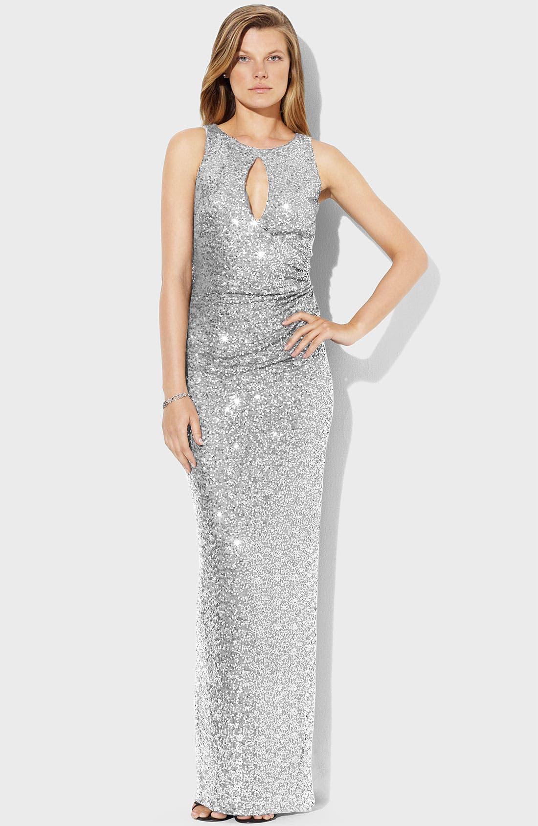 Main Image - Lauren Ralph Lauren Sequin Mesh Gown