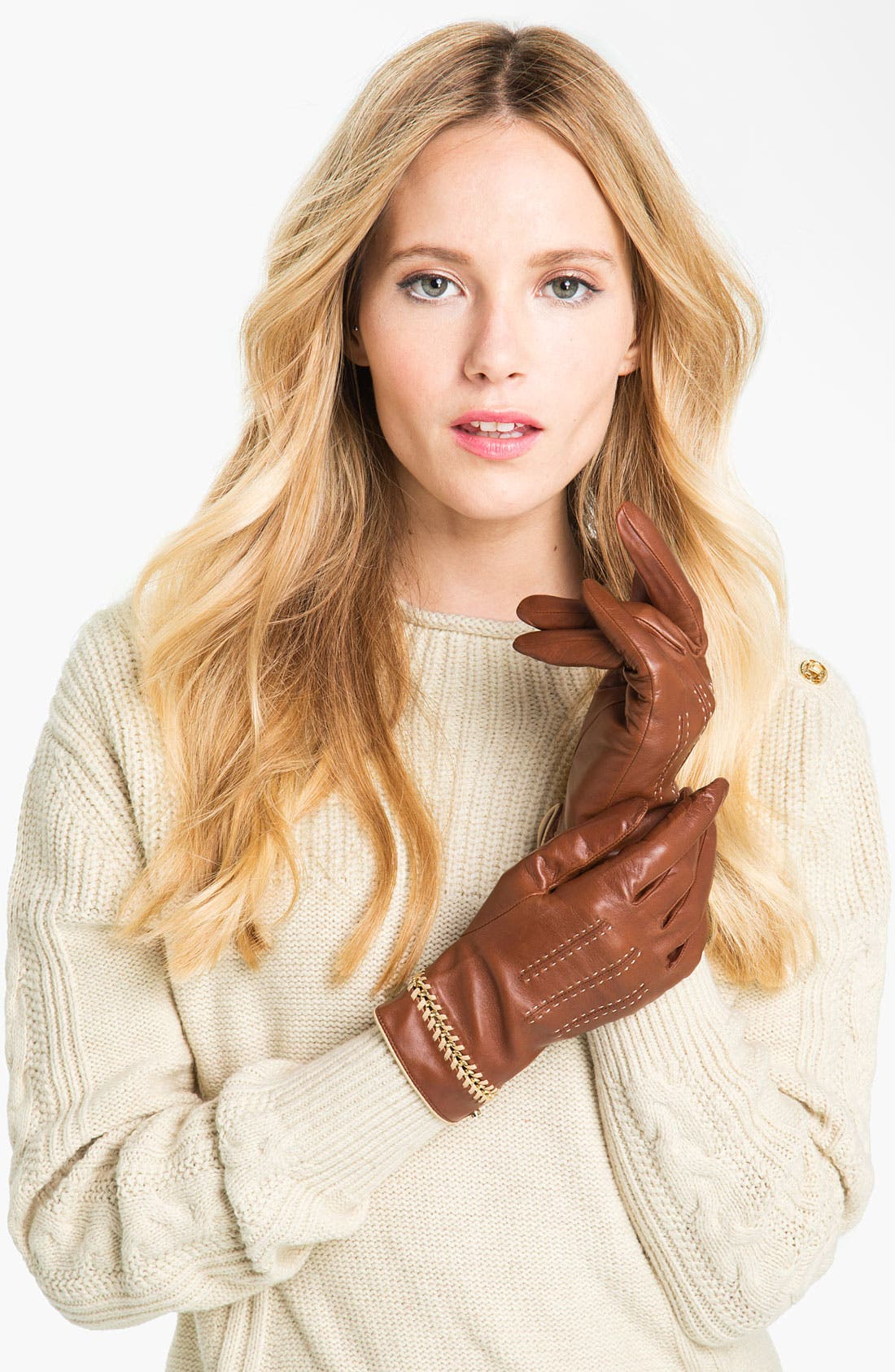 Main Image - Ted Baker London Chain Detail Leather Gloves