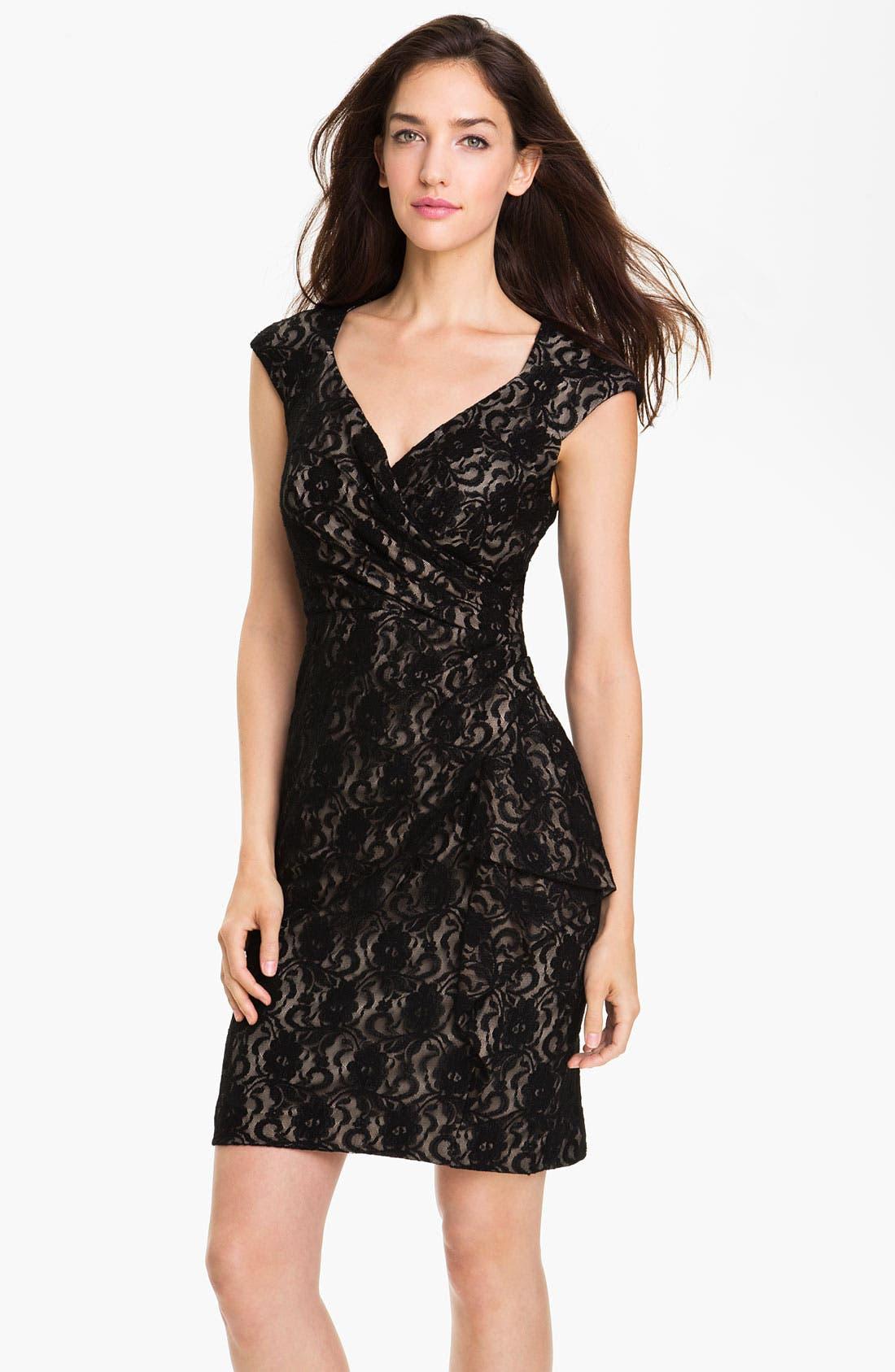 Alternate Image 1 Selected - Maggy London Surplice Lace Sheath Dress
