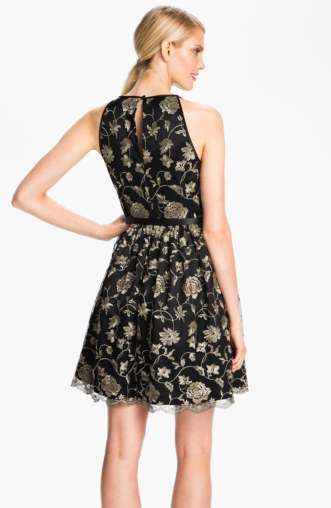 Alternate Image 2  - Adrianna Papell Embroidered Tulle Fit & Flare Dress