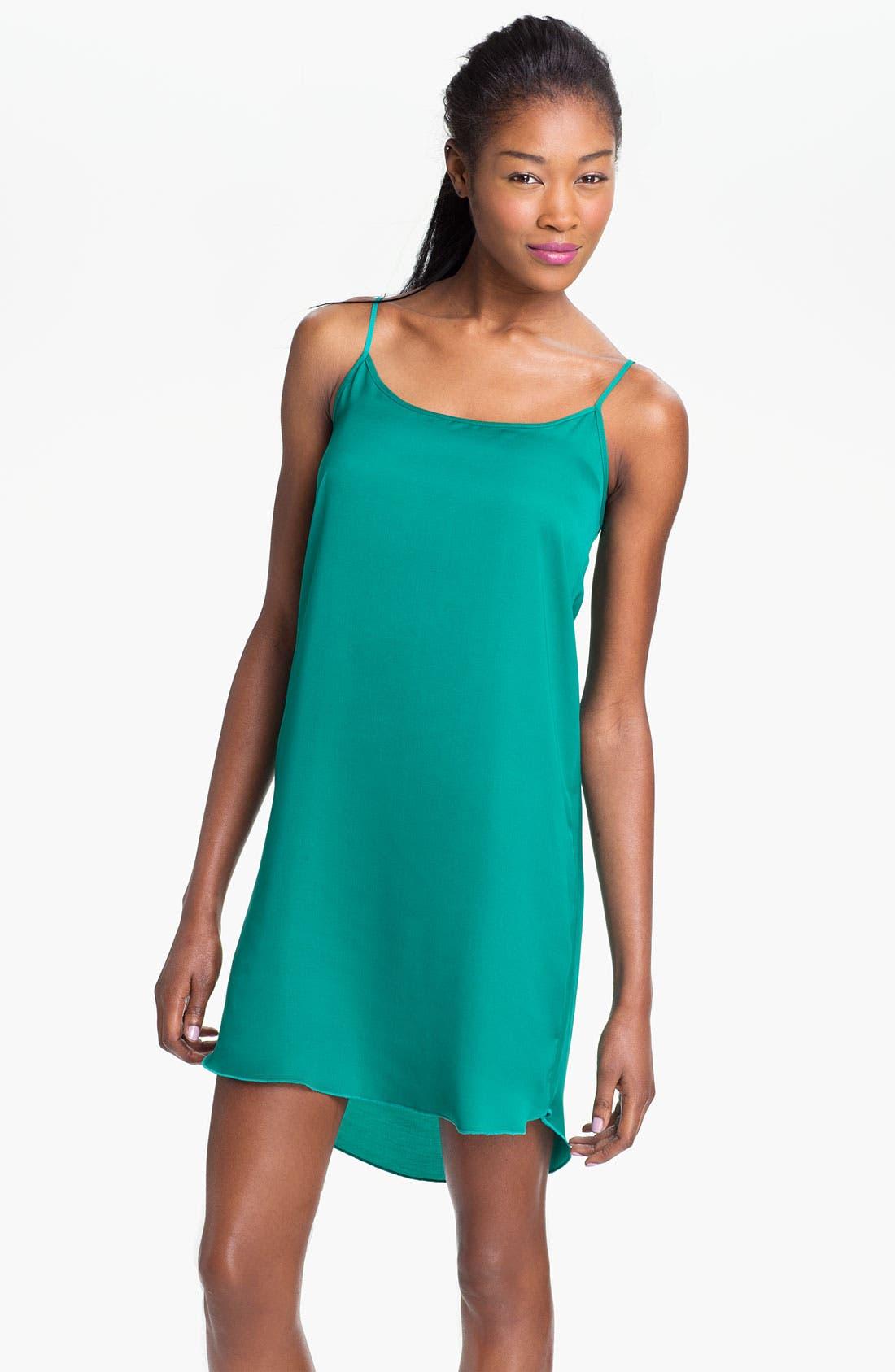 Main Image - Frenchi® Satin Slip Dress (Juniors)