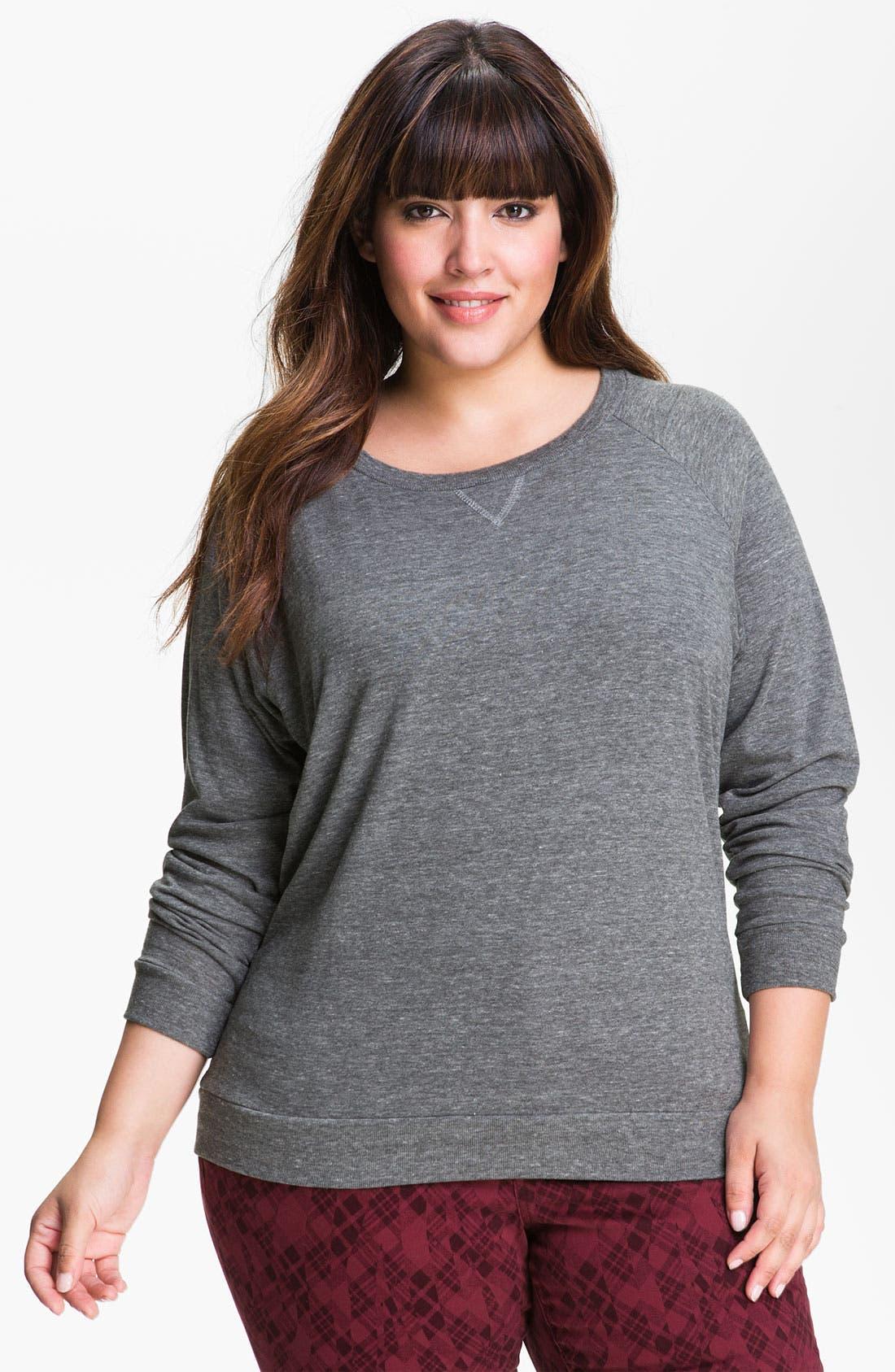 Main Image - Nation LTD Raglan Sleeve Sweatshirt (Plus)