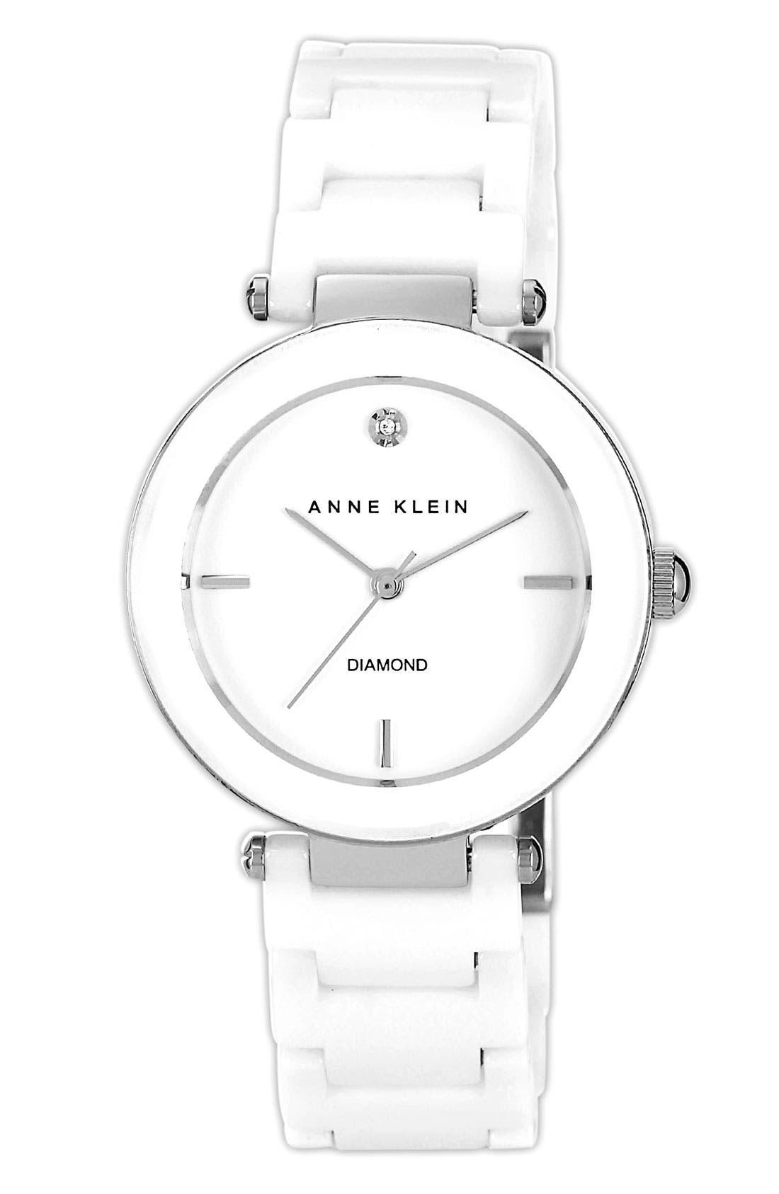 Anne Klein Round Ceramic Bracelet Watch, 33mm