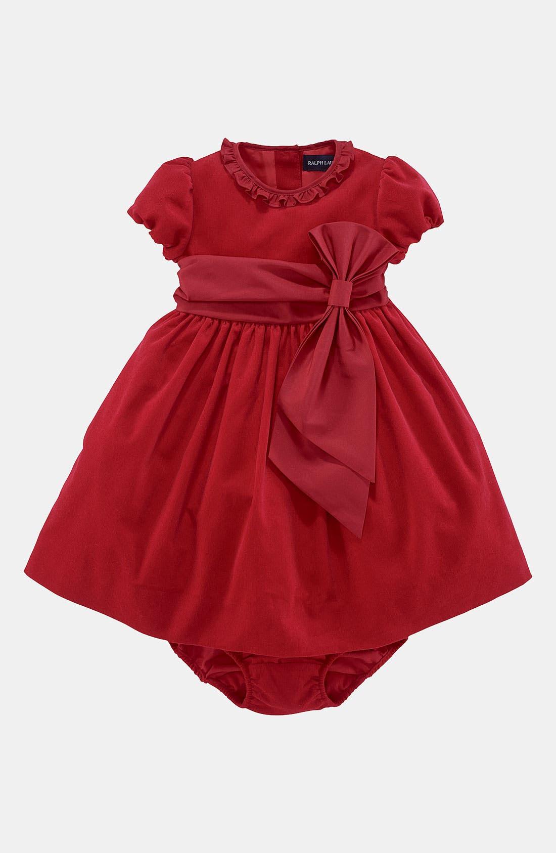 Alternate Image 1 Selected - Ralph Lauren Corduroy Dress (Infant)