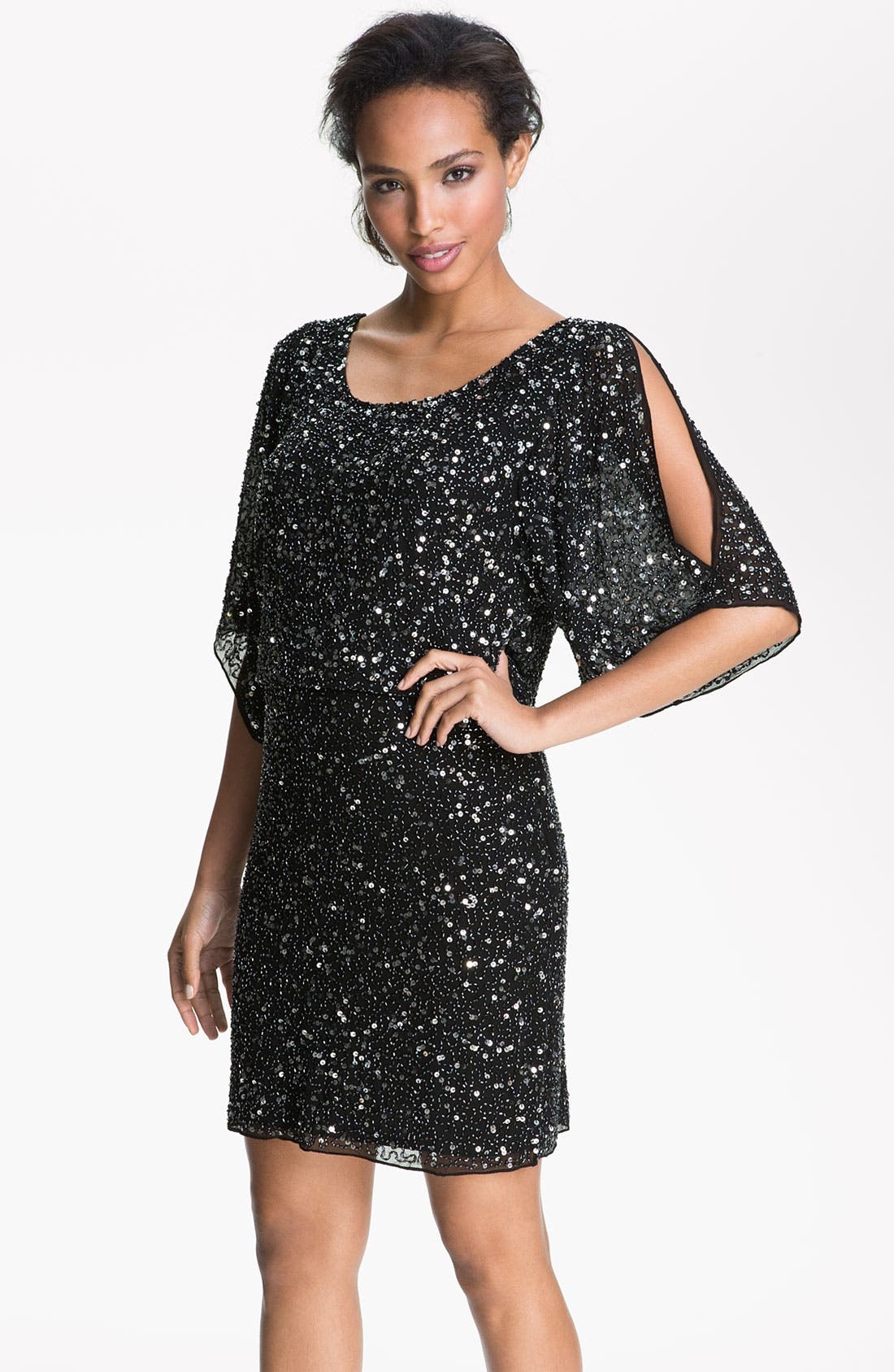 Alternate Image 1 Selected - Pisarro Nights Split Sleeve Sequin Silk Chiffon Dress