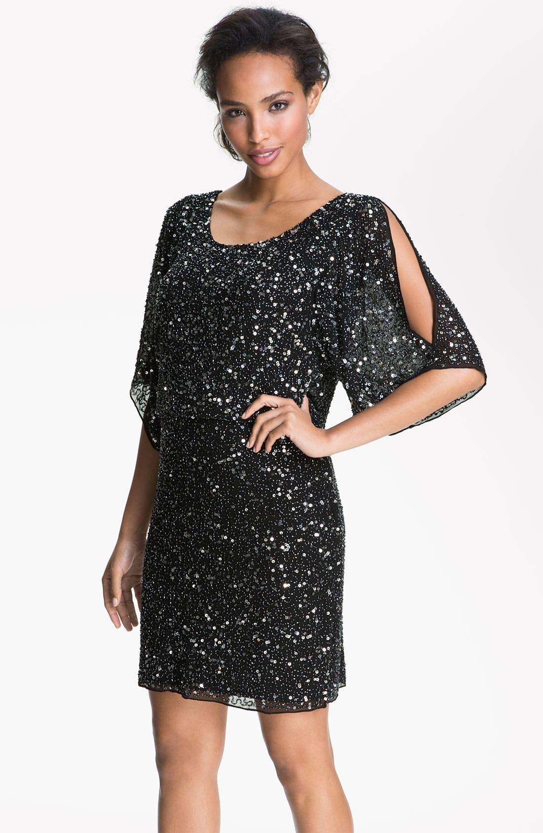 Main Image - Pisarro Nights Split Sleeve Sequin Silk Chiffon Dress