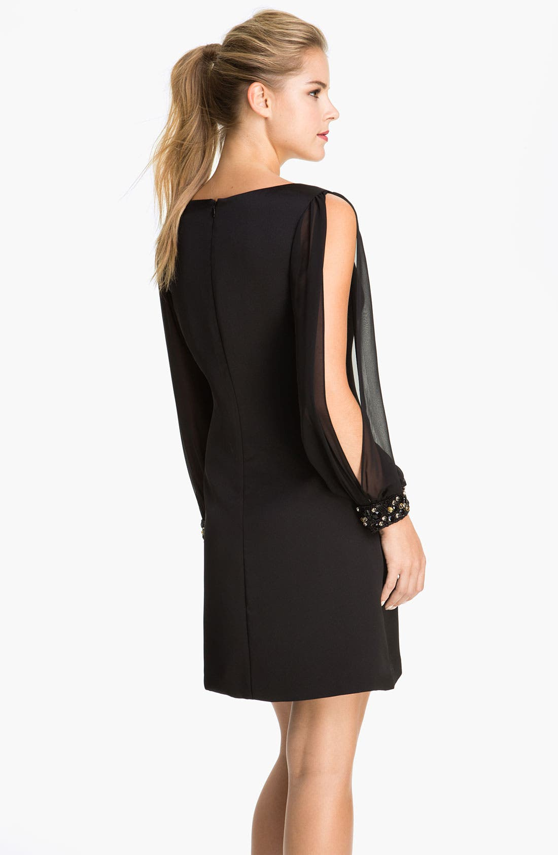 Alternate Image 2  - Eliza J Chiffon Split Sleeve Crepe Shift Dress