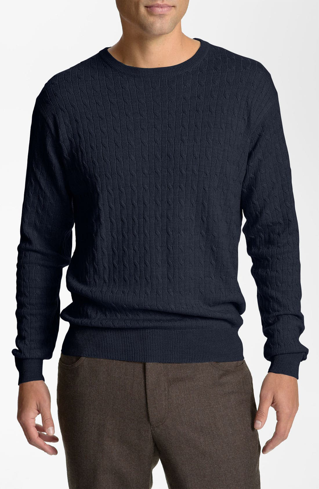Main Image - Peter Millar Cable Knit Merino Wool Sweater (Nordstrom Exclusive)