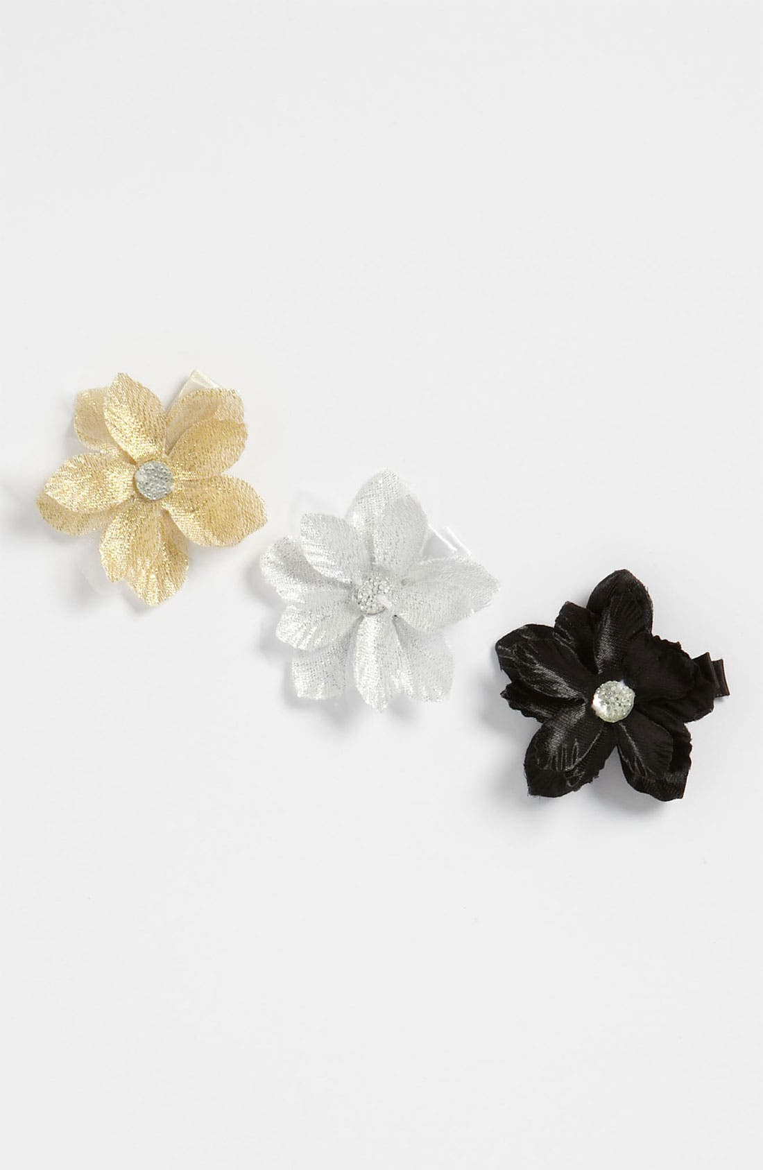 Main Image - PLH Bows & Laces Metallic Flower Clips (Set of 3) (Baby Girls & Toddler Girls)