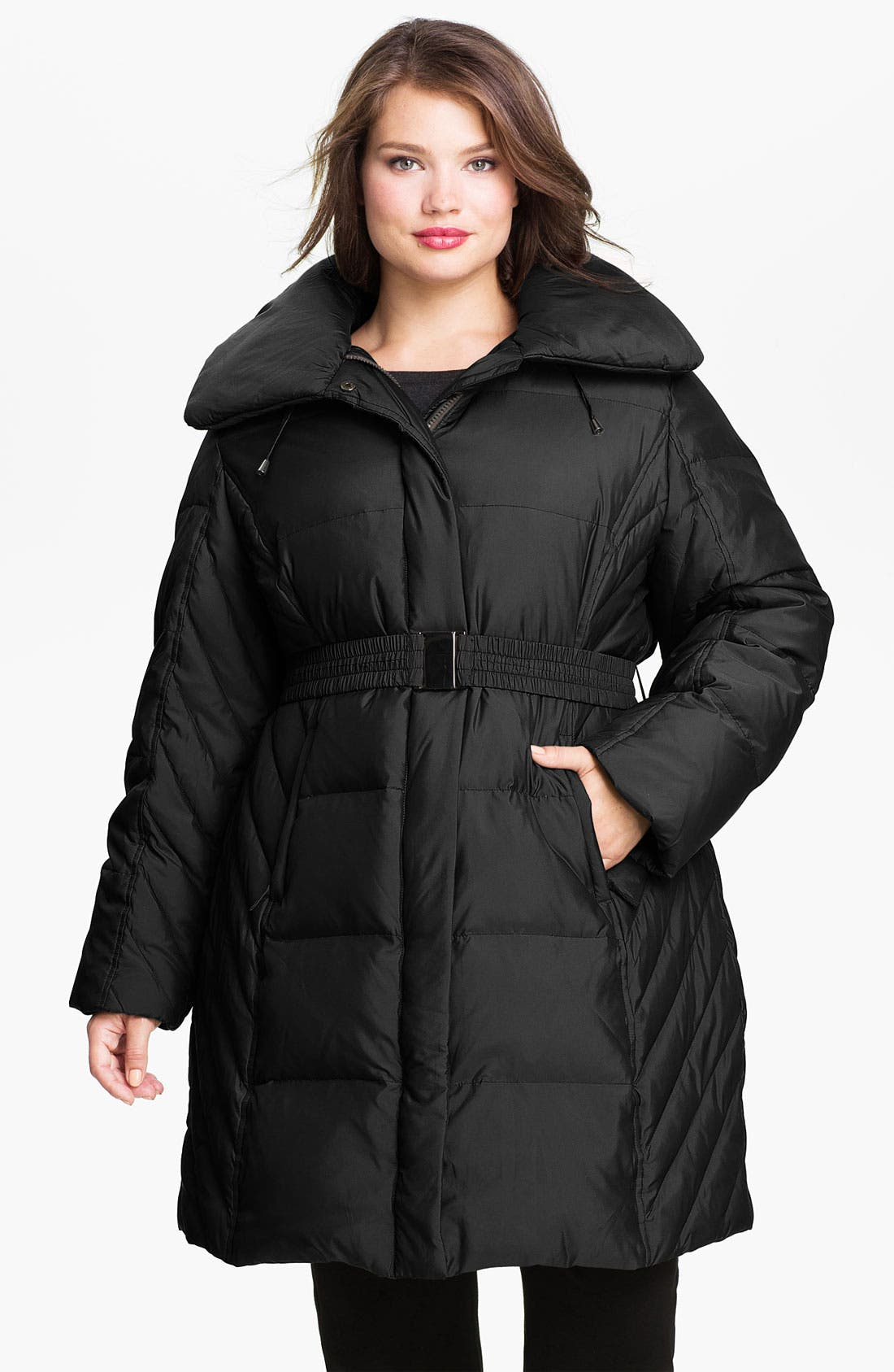 Alternate Image 1 Selected - Gallery Quilted Coat with Detachable Hood (Plus)