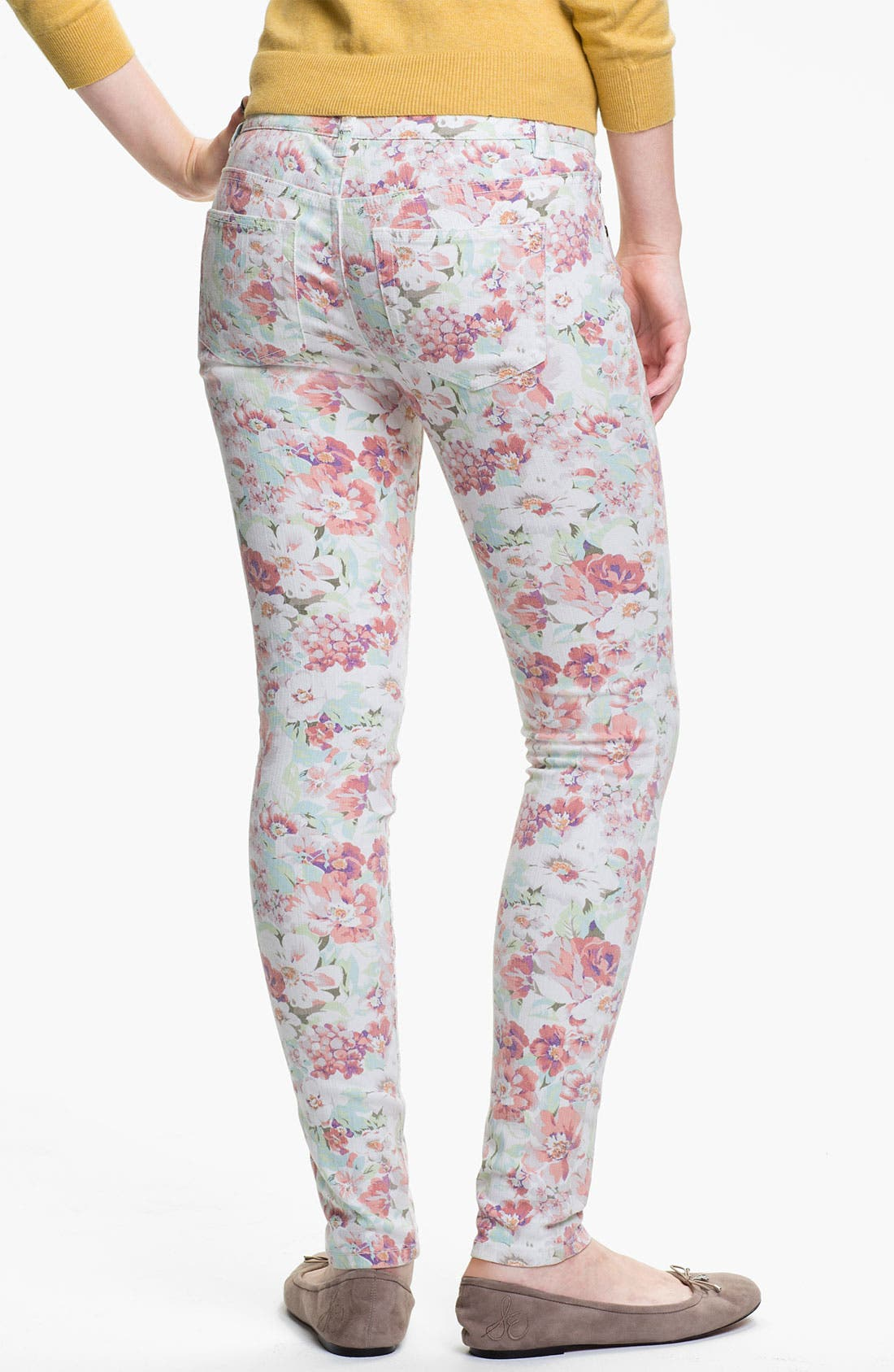 Alternate Image 1 Selected - Fire Floral Print Skinny Jeans (Juniors)