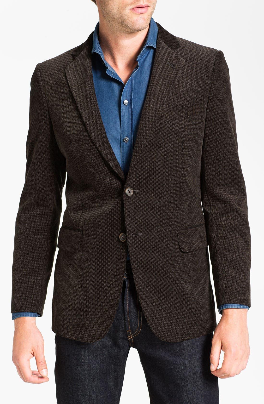Main Image - Joseph Abboud Herringbone Cotton Sportcoat