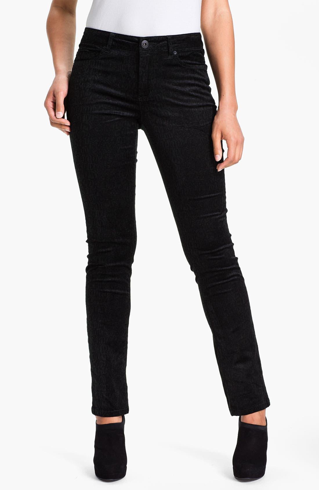 Main Image - Liverpool Jeans Company 'Sadie' - Cheetah' Straight Leg Velveteen Jeans