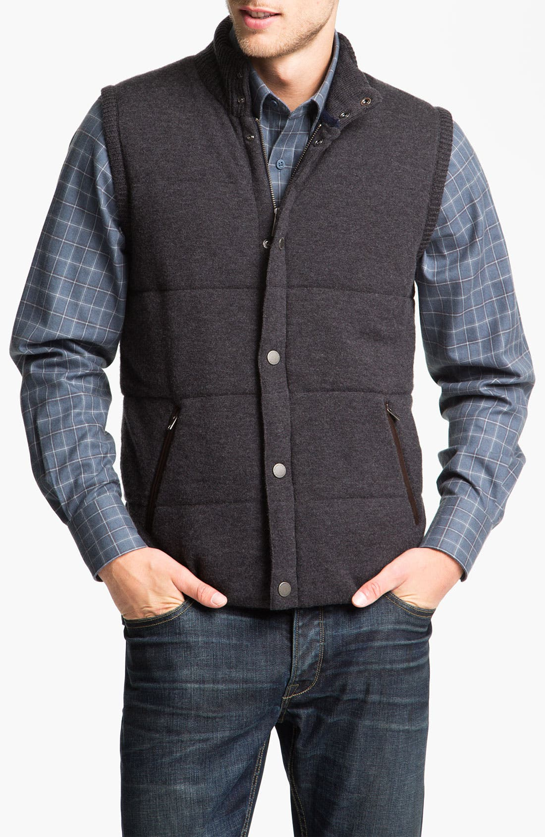 Alternate Image 1 Selected - Façonnable Wool & Cashmere Quilted Vest