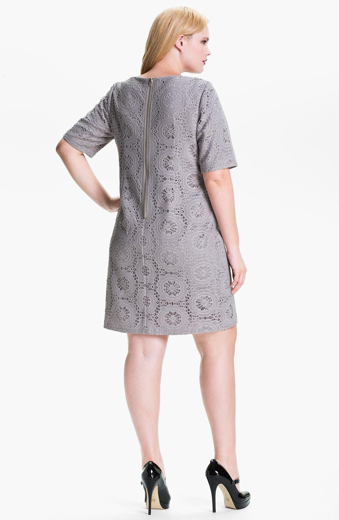 Alternate Image 2  - Adrianna Papell Crochet Overlay Sheath Dress (Plus)
