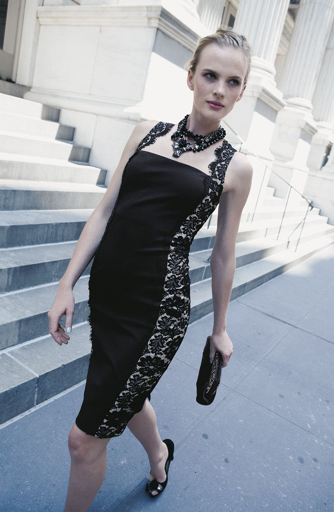 Alternate Image 4  - Aidan Mattox Lace Panel Woven Sheath Dress